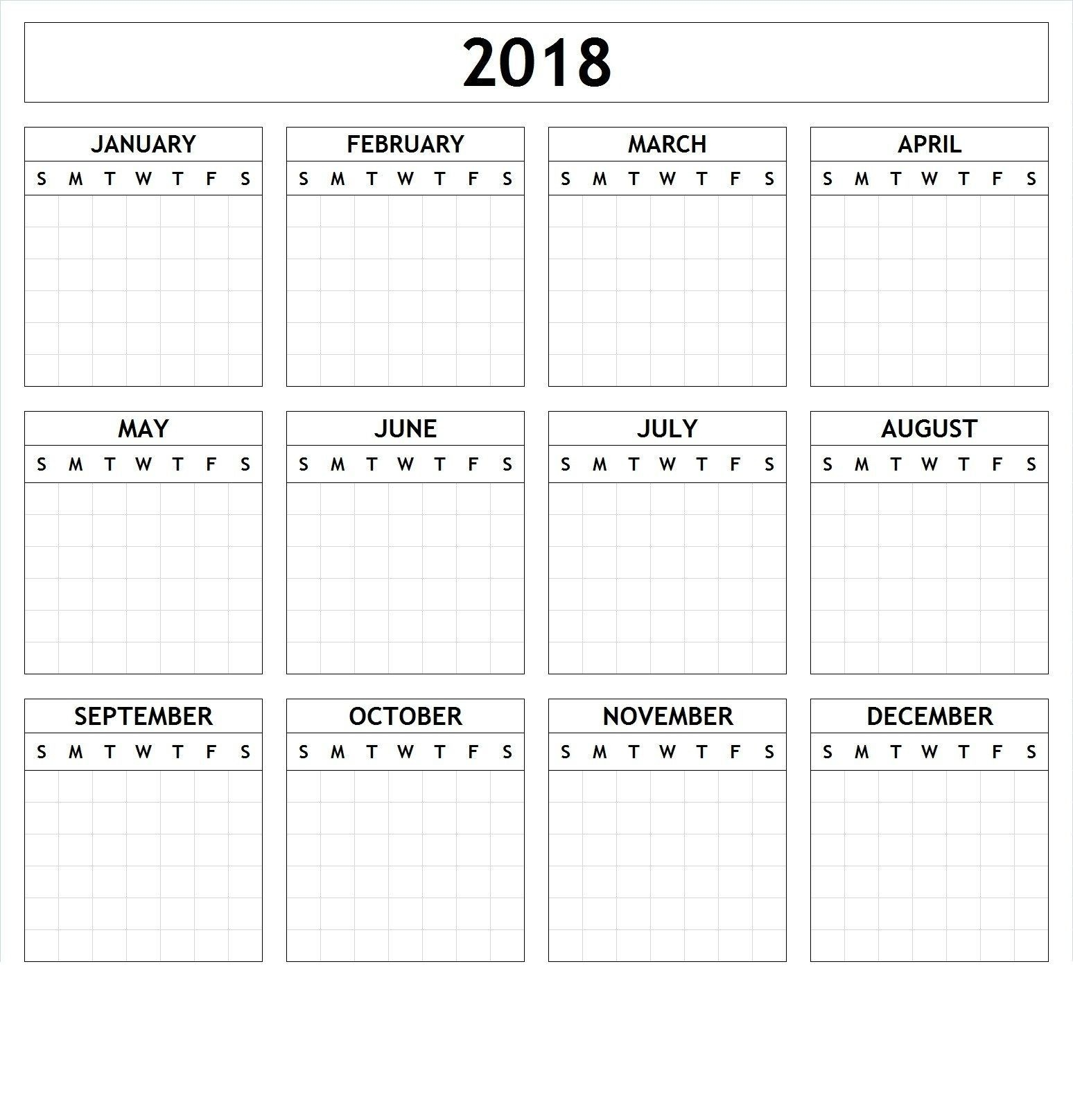 Yearly Calendar Template Large Print (With Images) | Yearly