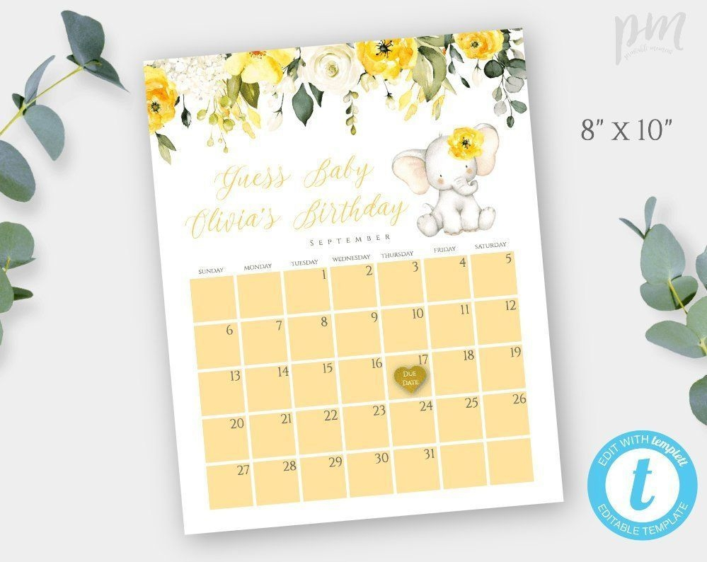 Yellow Floral Elephant Baby Shower Game Template, Guess