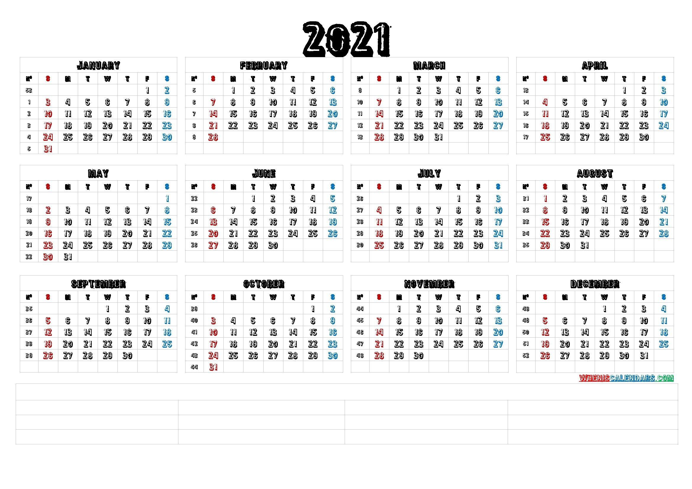 12 Month Calendar Printable 2021 (6 Templates) – Free 2020