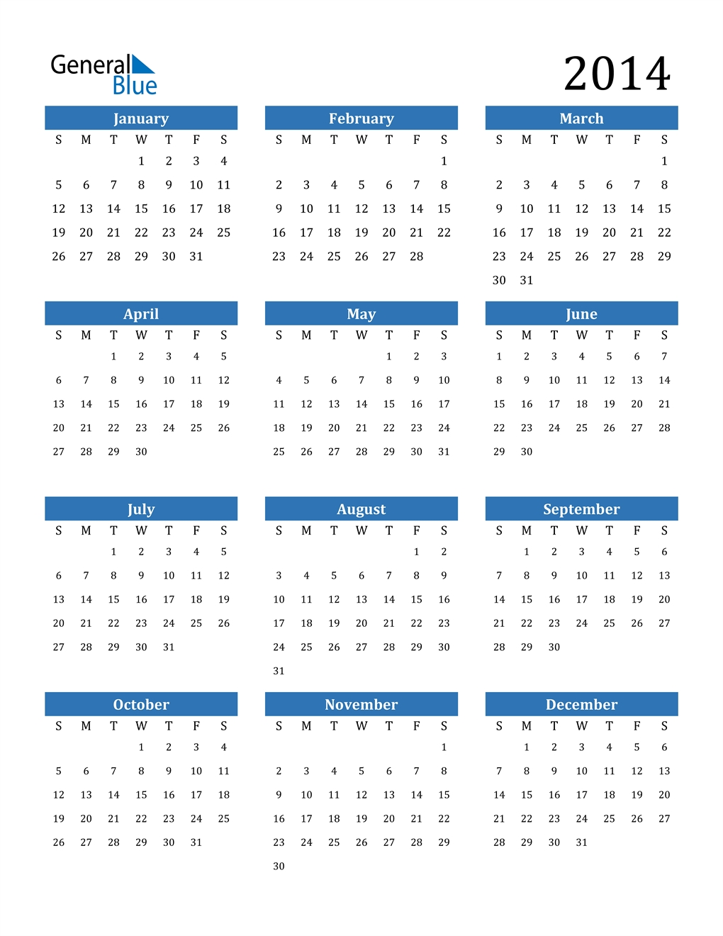 2014 Calendar (Pdf, Word, Excel)