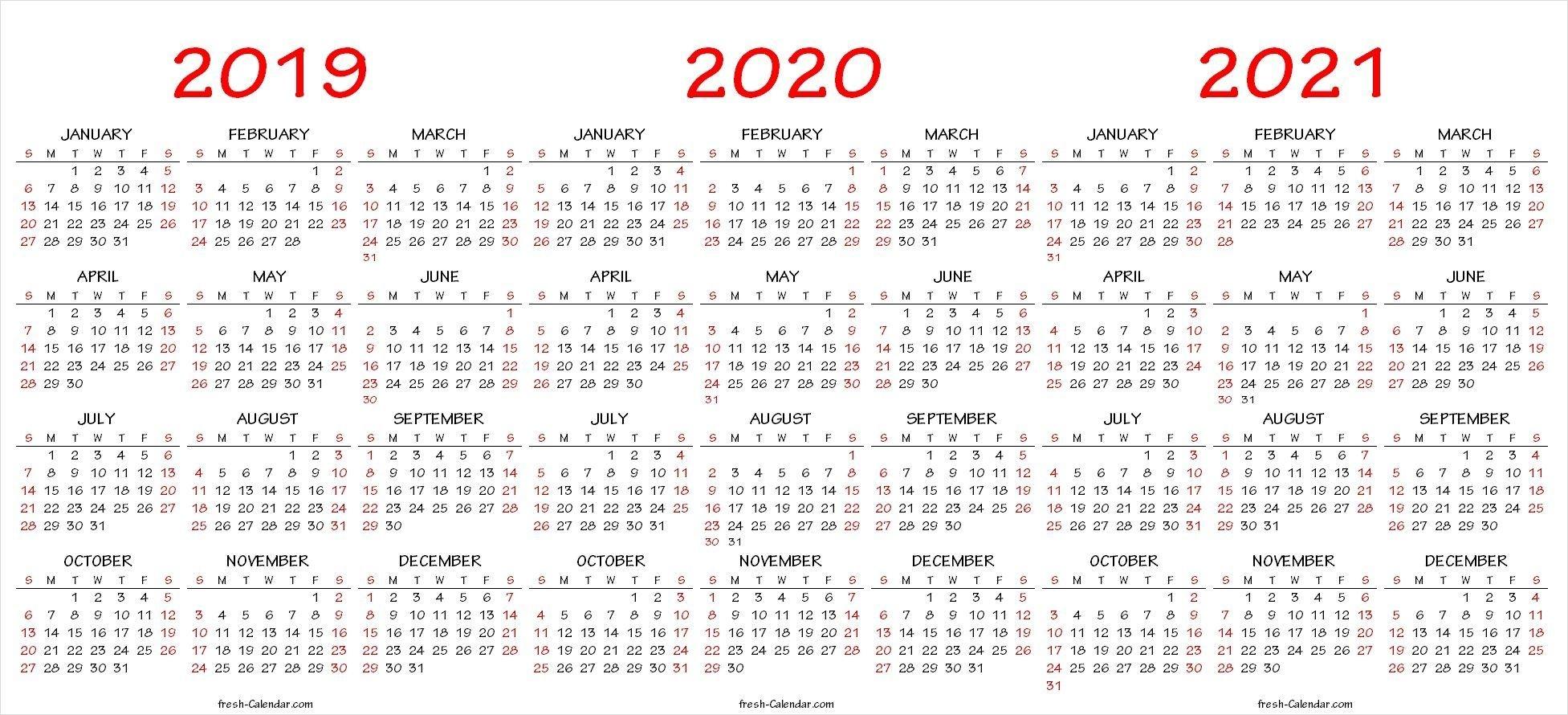 2019 2020 2021 Calendar Pdf Template | Calendar Printables