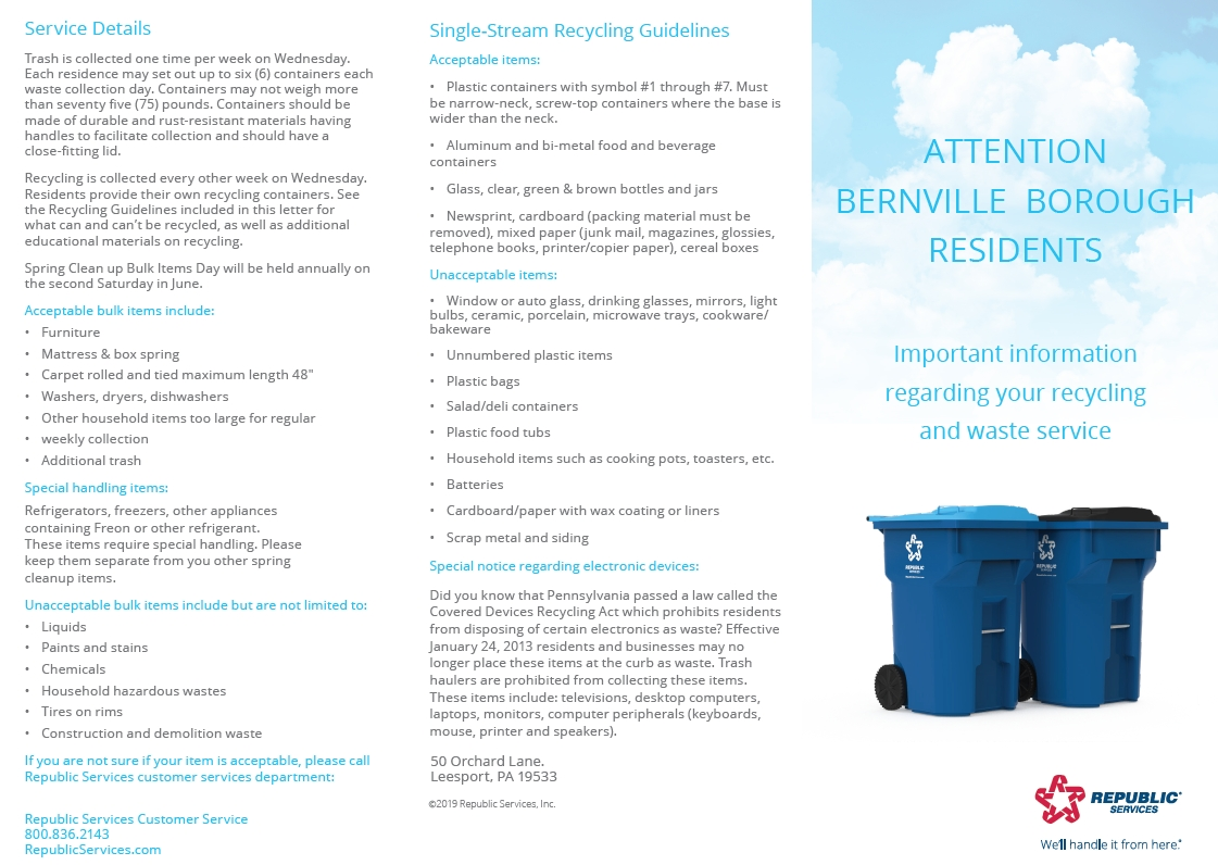 2019-2020 Trash And Recycling Calendar – Bernville Borough