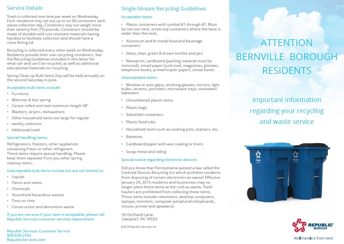 2019-2020 Trash And Recycling Calendar – Bernville Borough