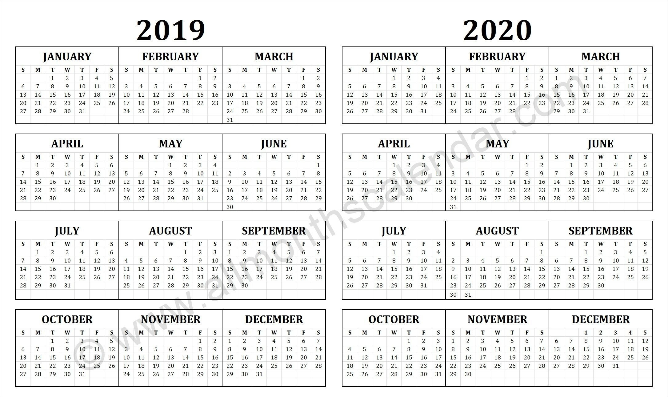 2019 And 2020 Calendar | Calendar Printables, Printable