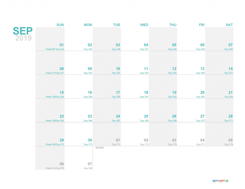 2019 Printable Monthly Calendar Template With Day Count