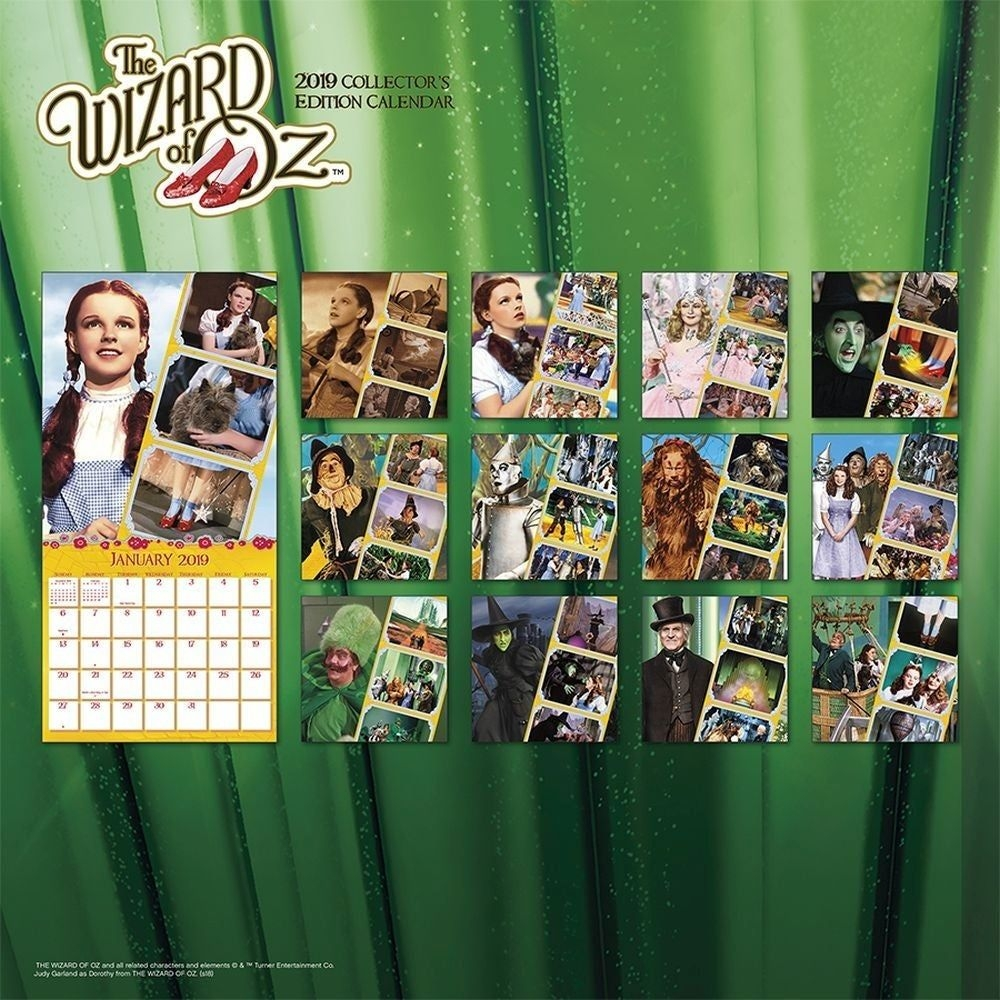 2019 Wizard Of Oz Collector'S Edition 2019 Wall Calendar, Classic Movies By  Tren