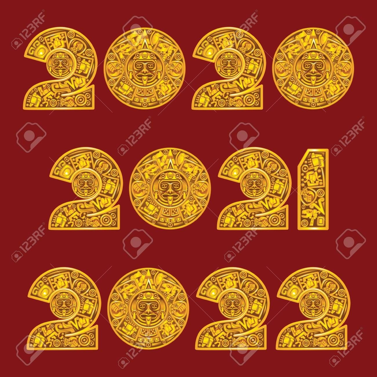 2020, 2021 And 2022 In The Style Of The Mayan Calendar