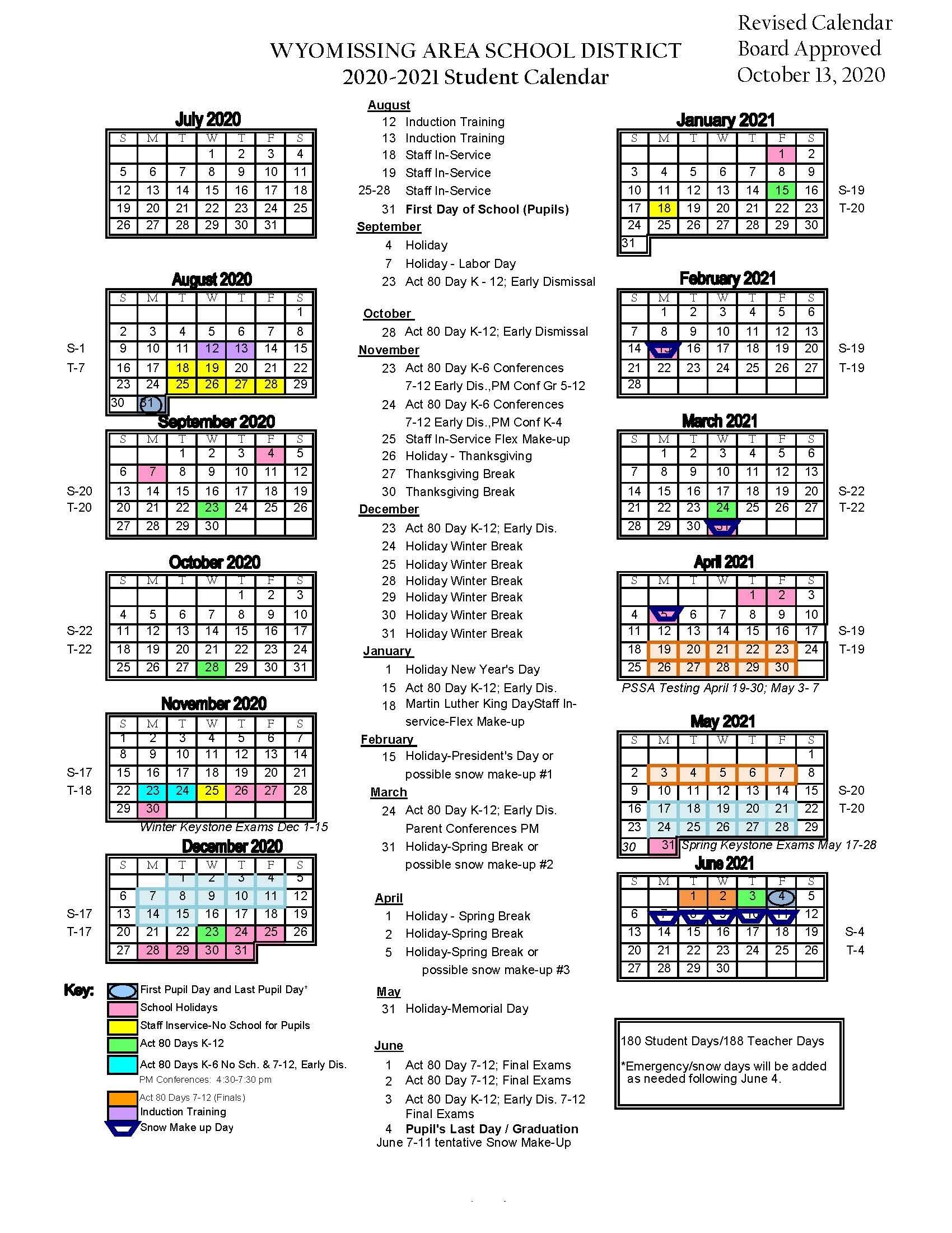 2020-2021 District Calendar - Wyomissing Area School District