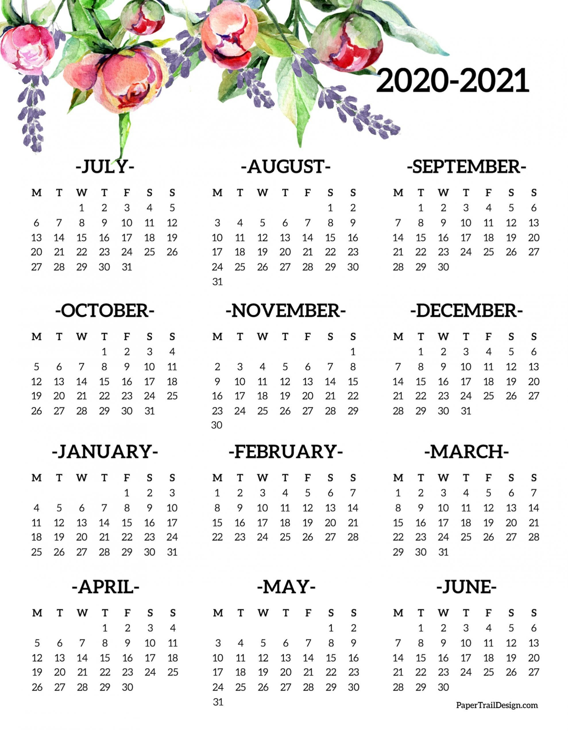 2020-2021 School Year Calendar Free Printable | Paper Trail