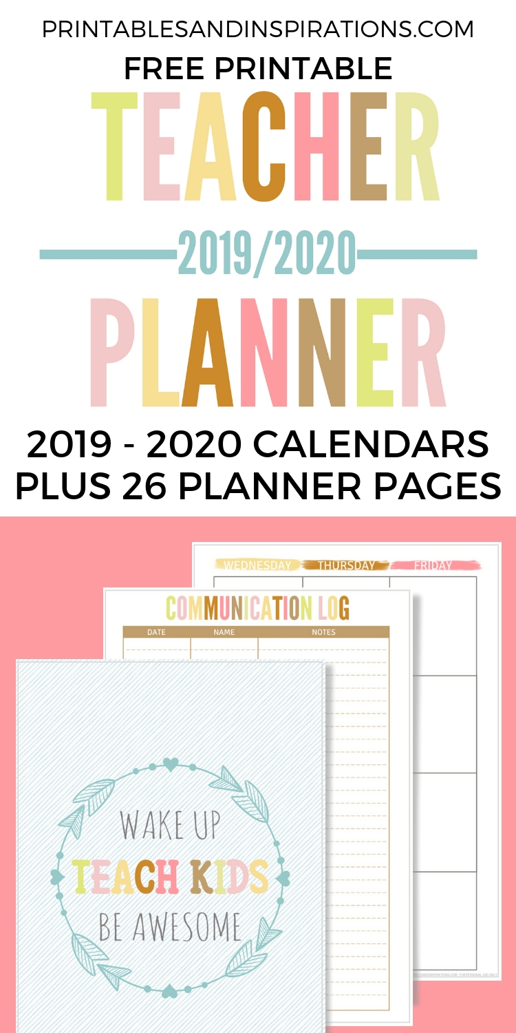 2020 2021 Teacher Planner Free Printable - Printables And