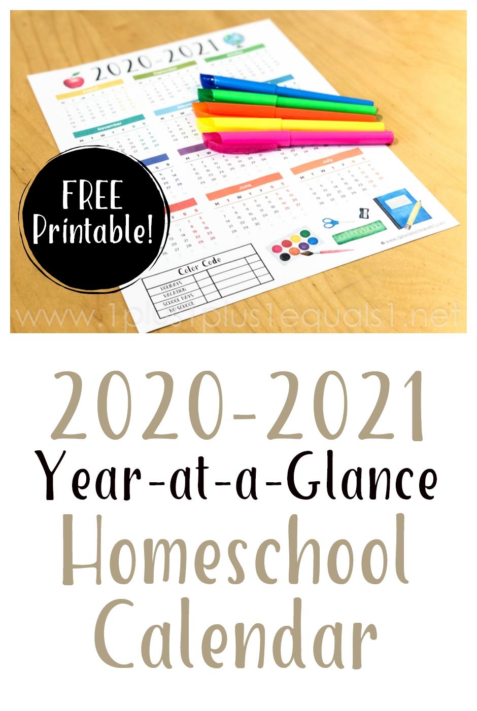 2020-2021 Year At A Glance Homeschool Calendar Printable - 1
