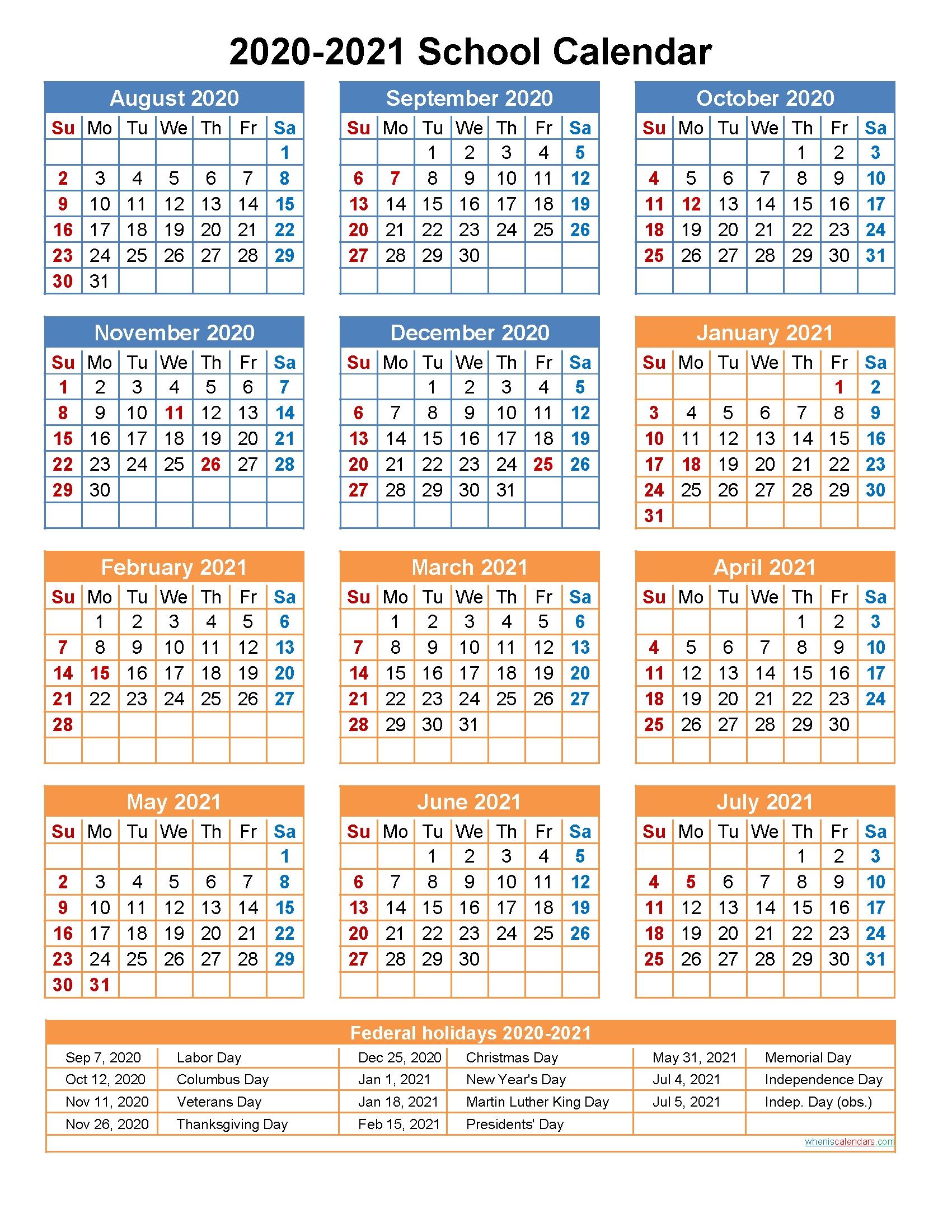 2020 And 2021 School Calendar Printable (Portrait)- Template