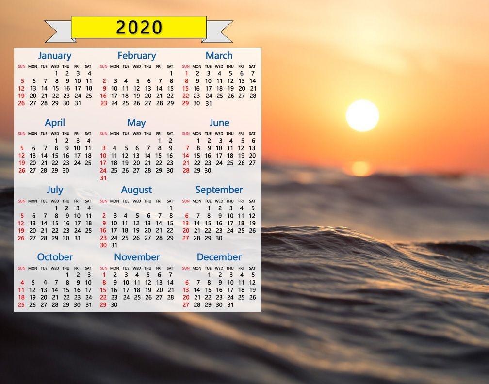 2020 Calendar: Ocean Waves Seascape Sunrise Sunset Water Nature