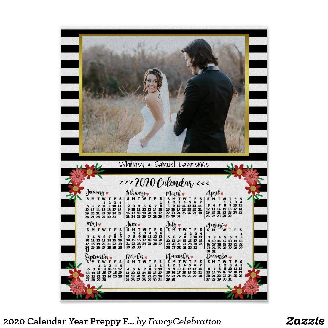 2020 Calendar Year Preppy Floral Stripes | Photo Poster