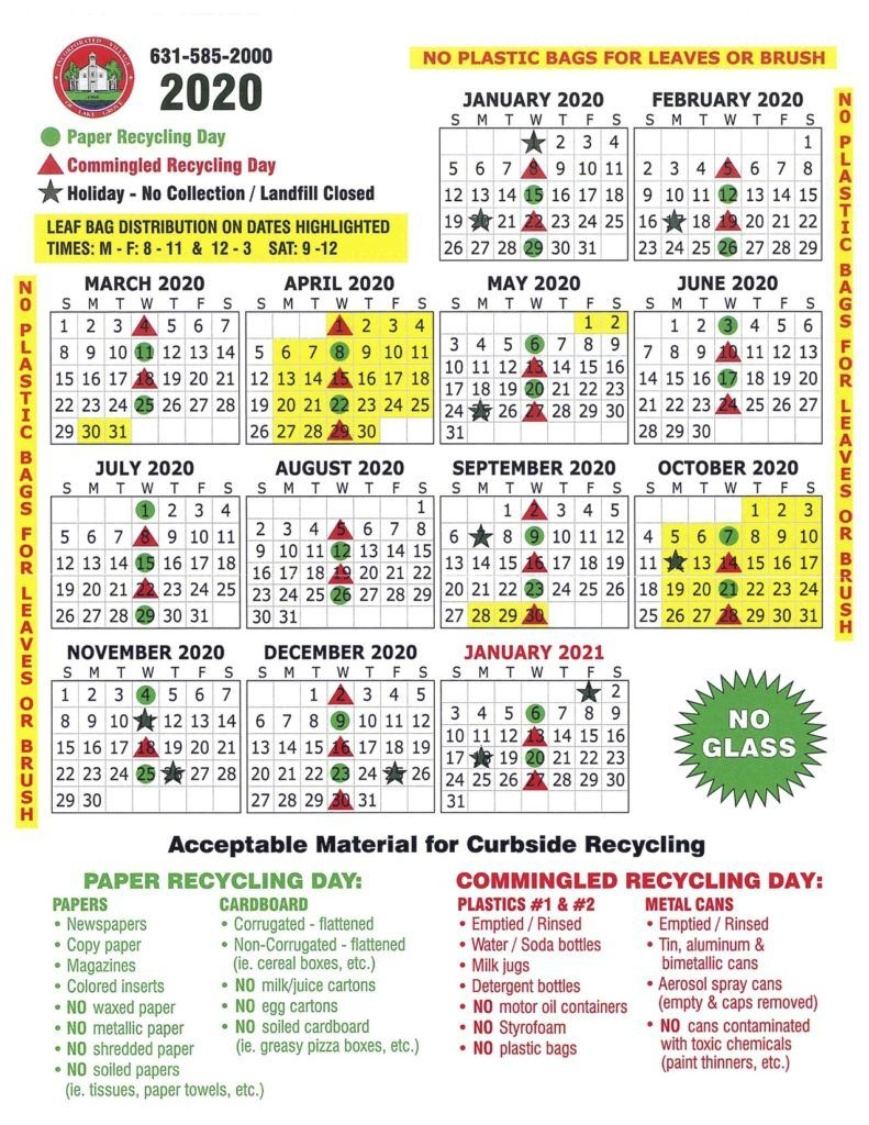 2020 Lg Recycling Calendar - Village Of Lake Grove