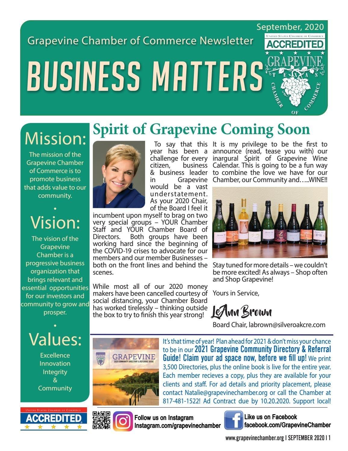 2020 September Grapevine Chamber Newsletter By Grapevine