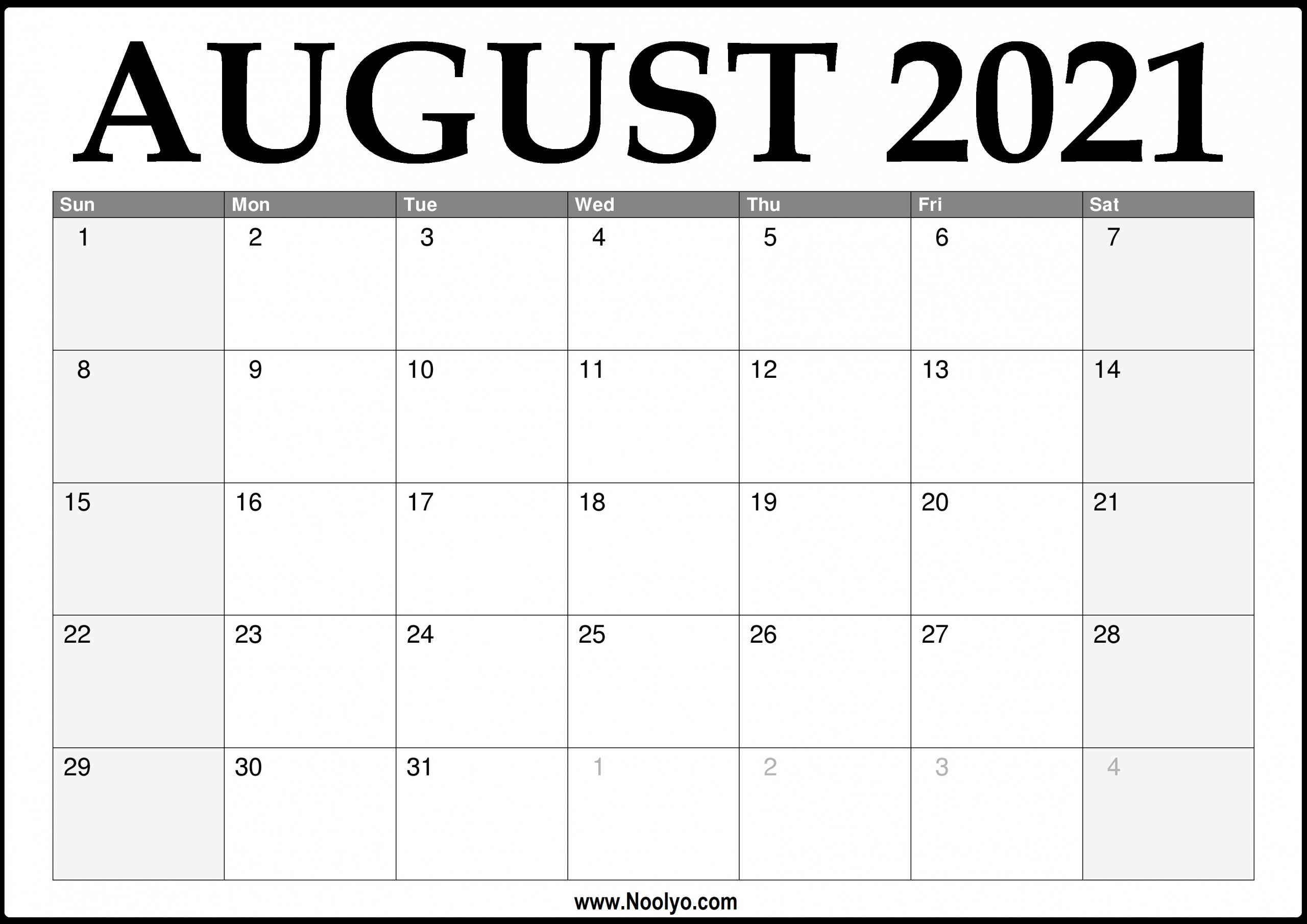 2021 August Calendar Printable – Download Free – Noolyo