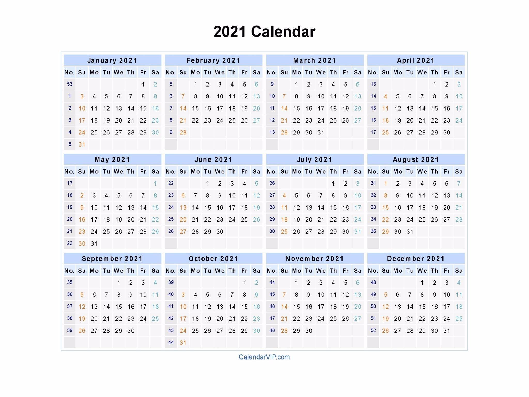 2021 Calendar Blank Printable Calendar Template In Pdf 2021