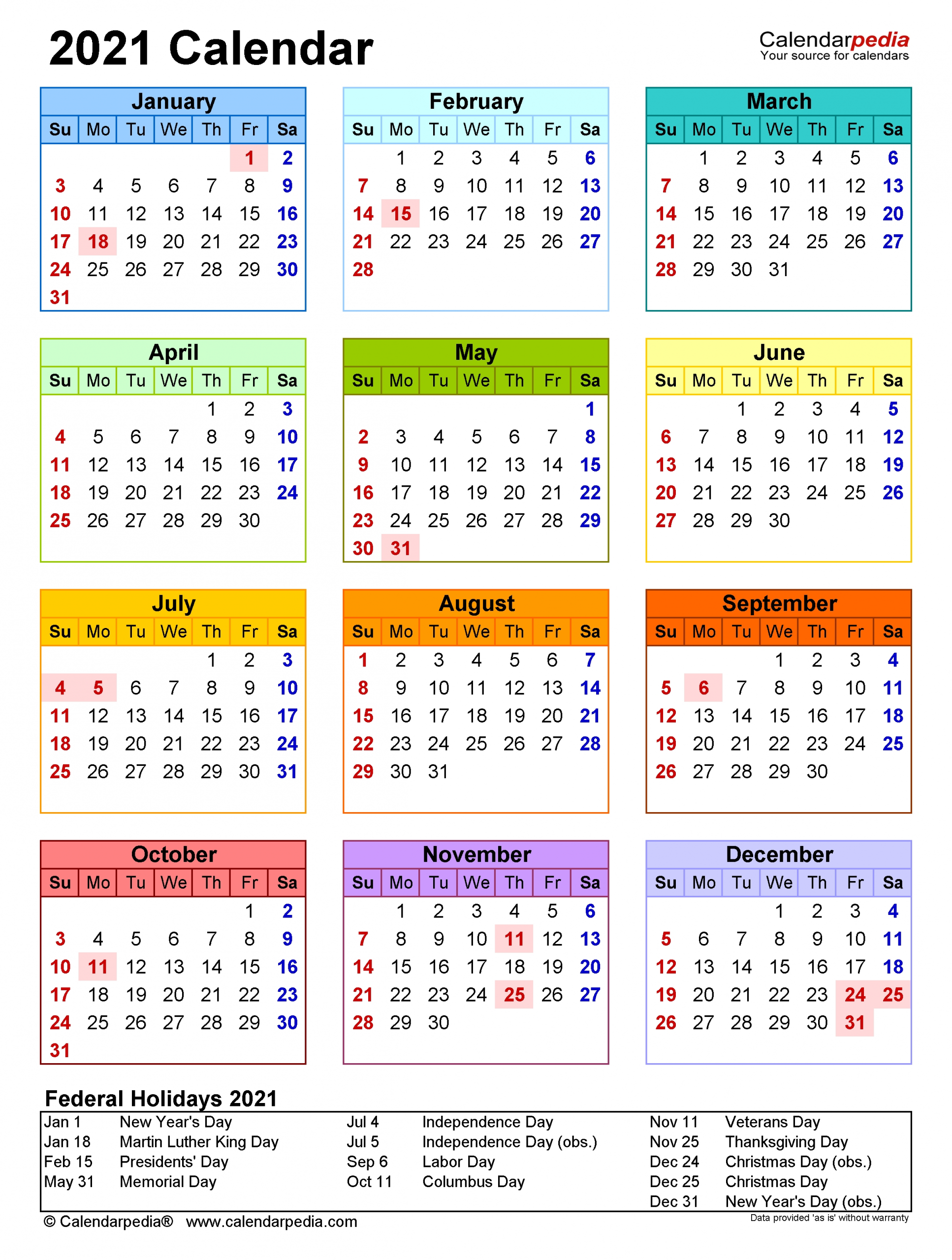 2021 Calendar - Free Printable Pdf Templates - Calendarpedia