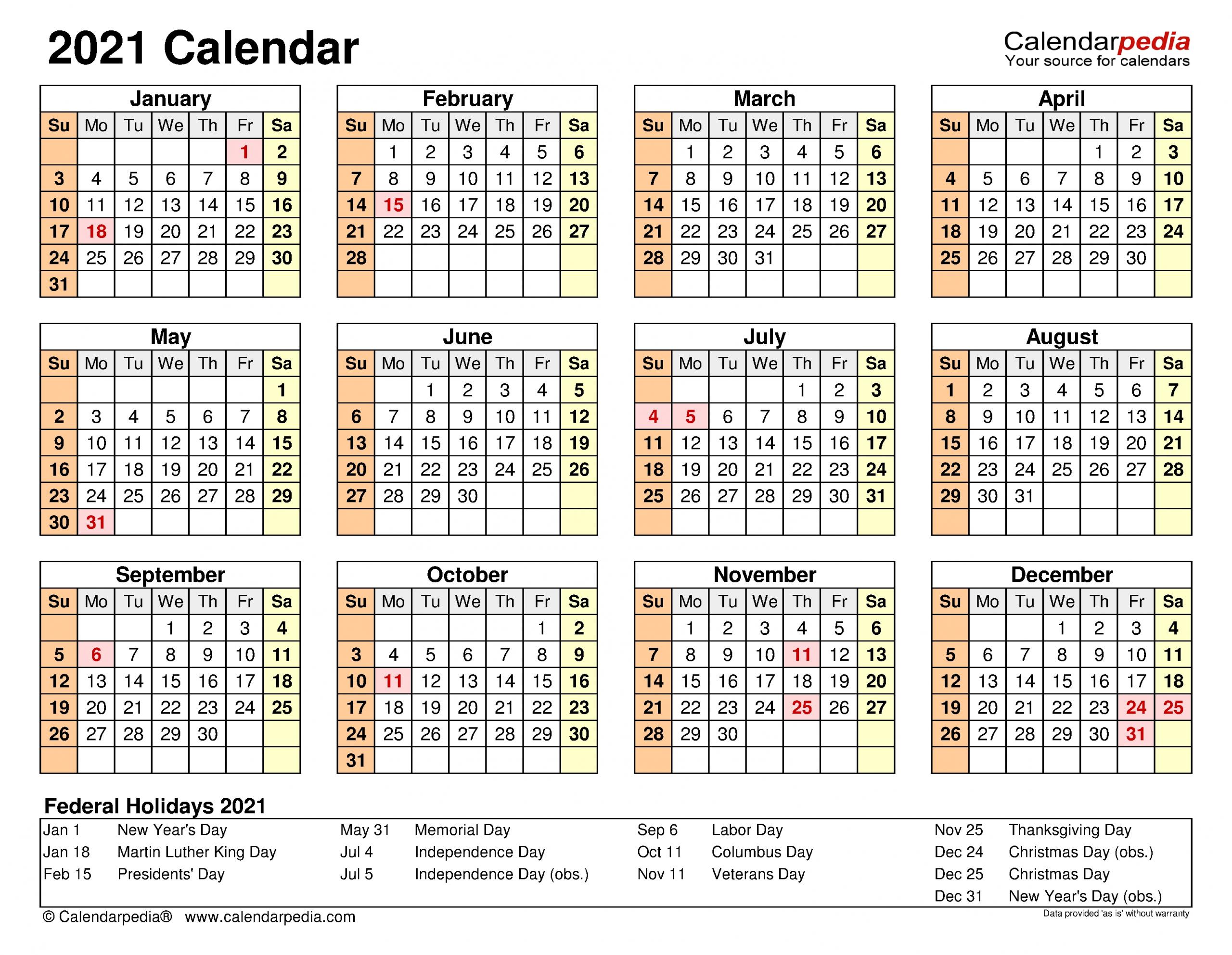 2021 Calendar - Free Printable Word Templates - Calendarpedia