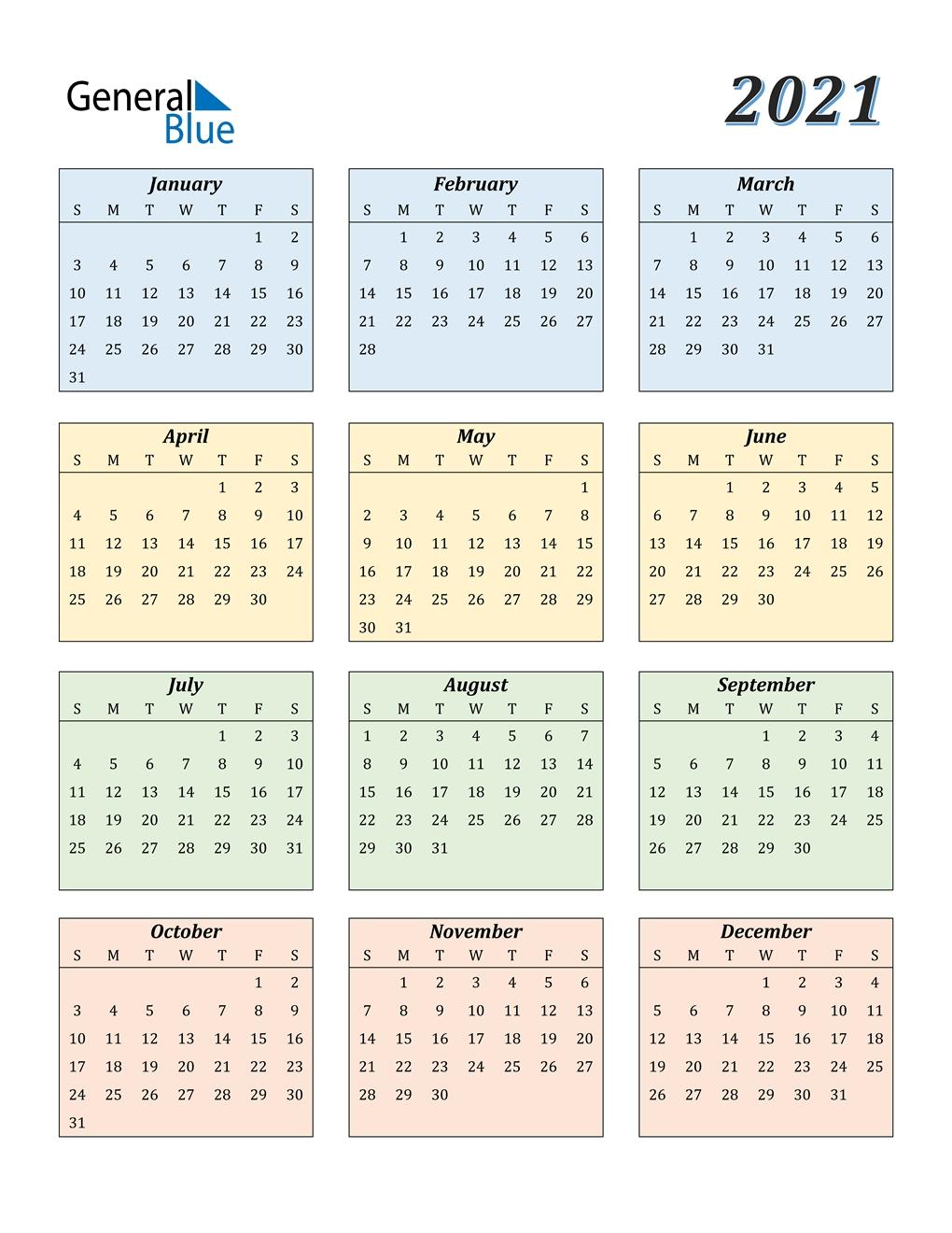 2021 Calendar (Pdf, Word, Excel)