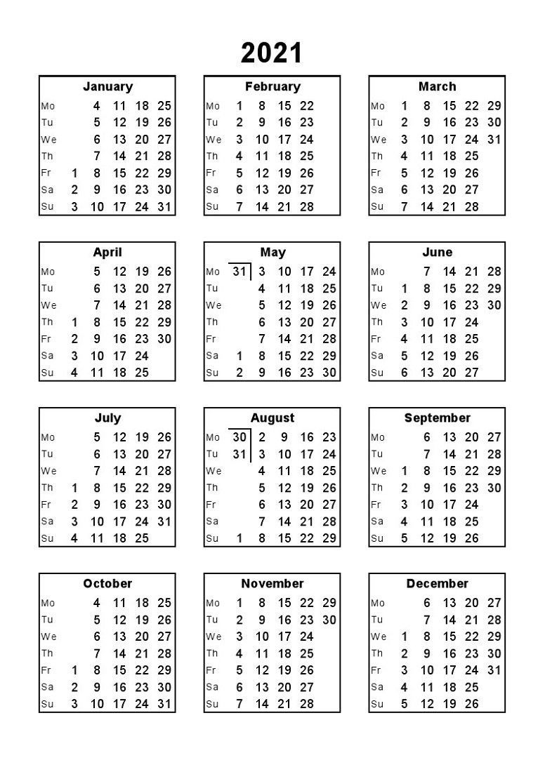 2021 Calendar Print Out Full Months – Delightful For You To