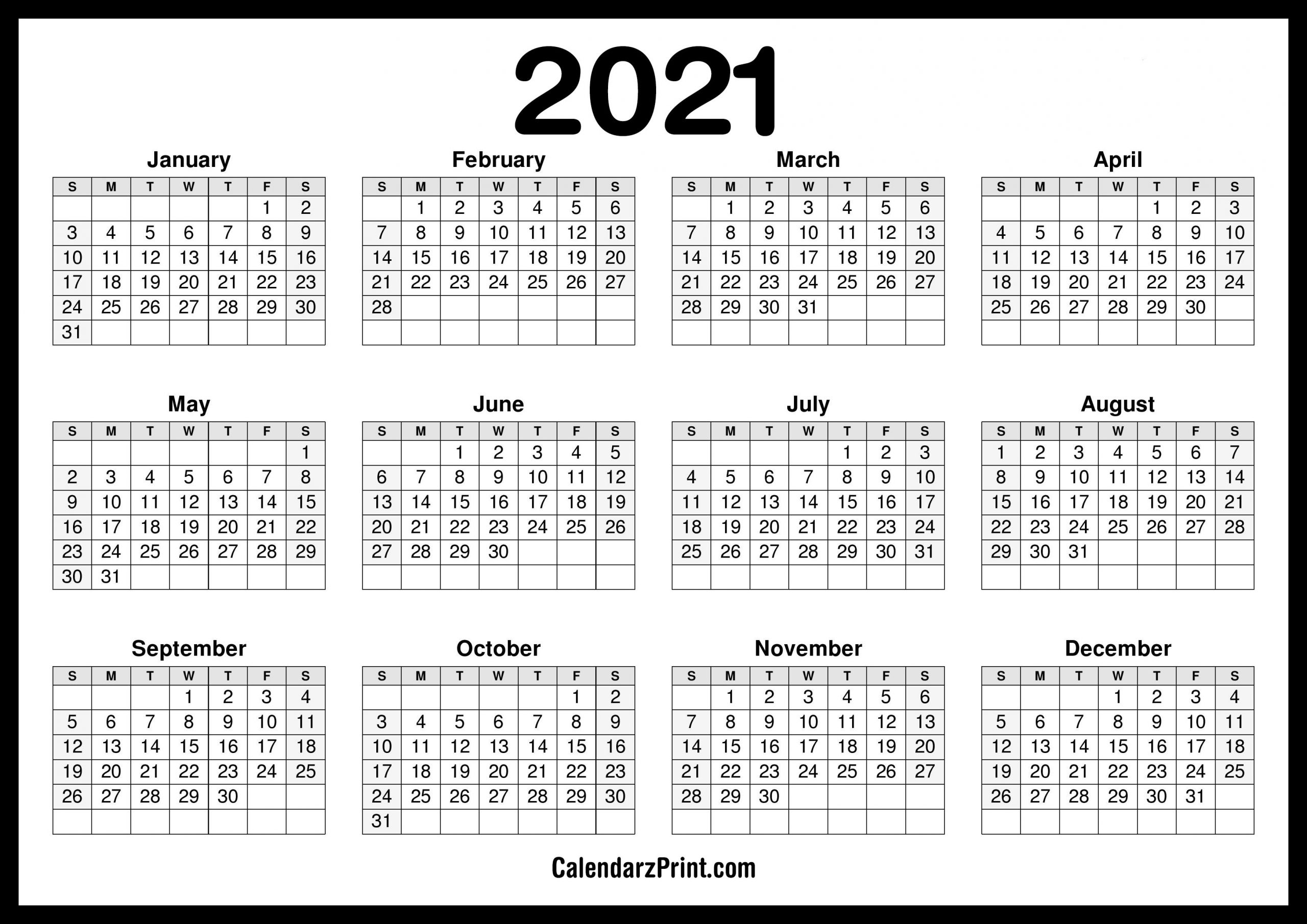 2021 Calendar Printable Free, Horizontal, Hd, Black