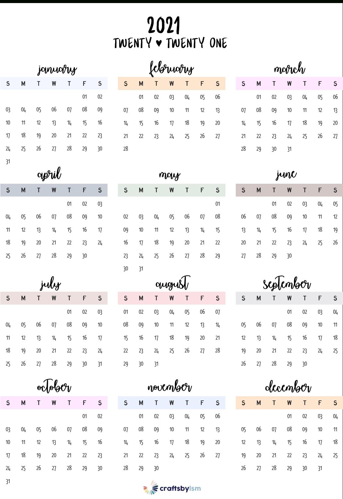 2021 Calendar Printable Free In 2020 | Calendar Printables