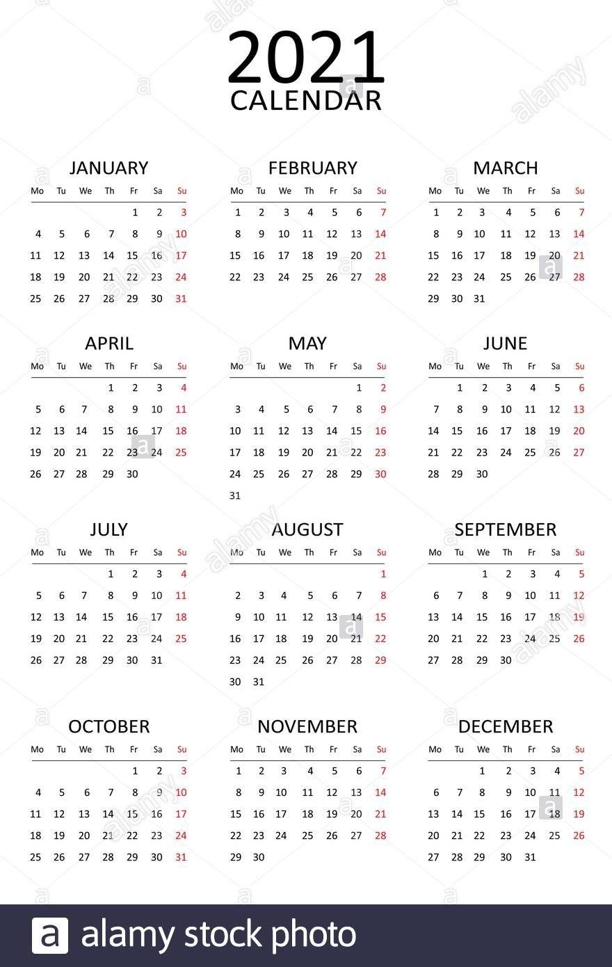 2021 Calendar Template. Simple Black And White Design. Week