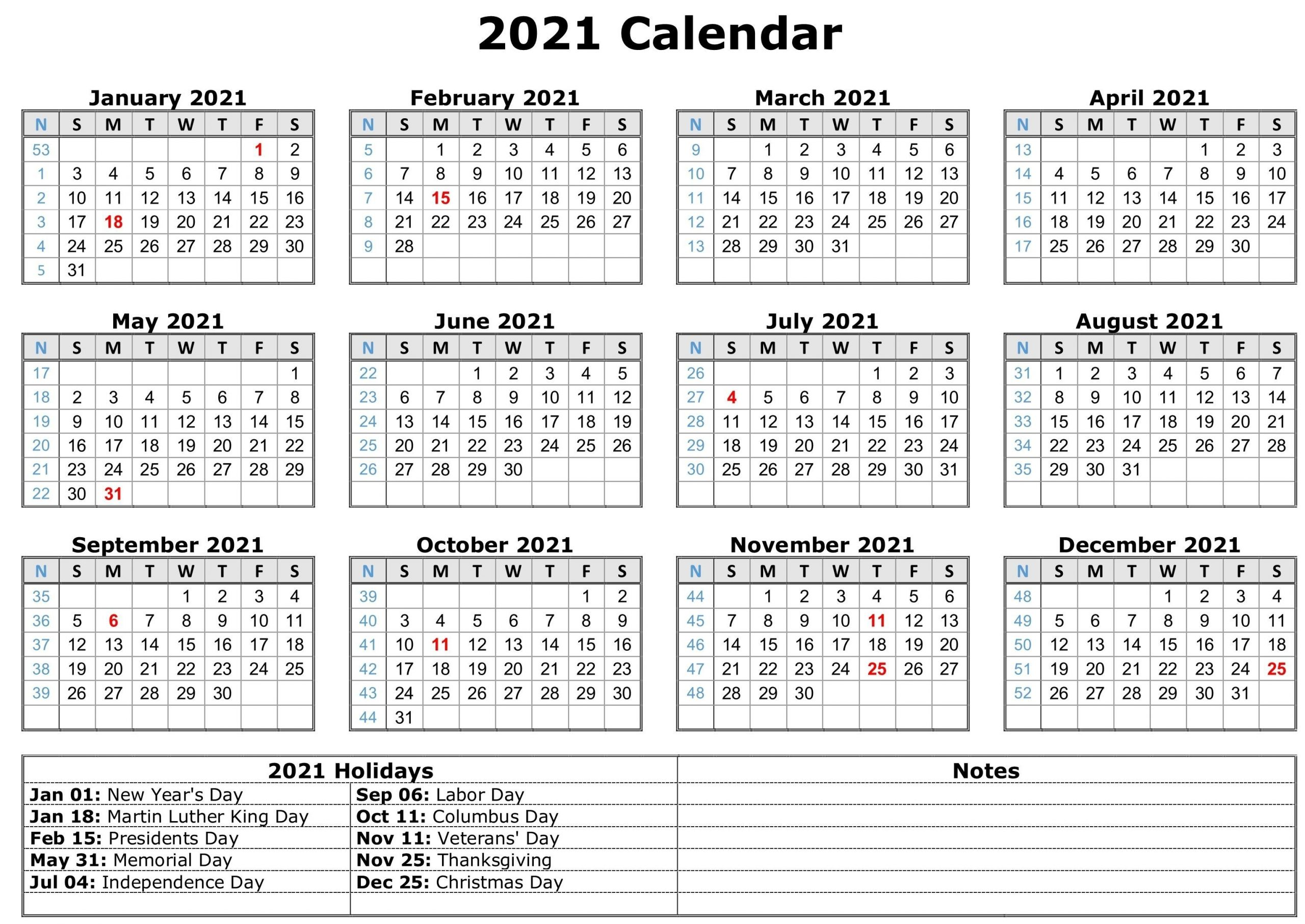 2021 Calendar With Holidays | Free Calendar Template