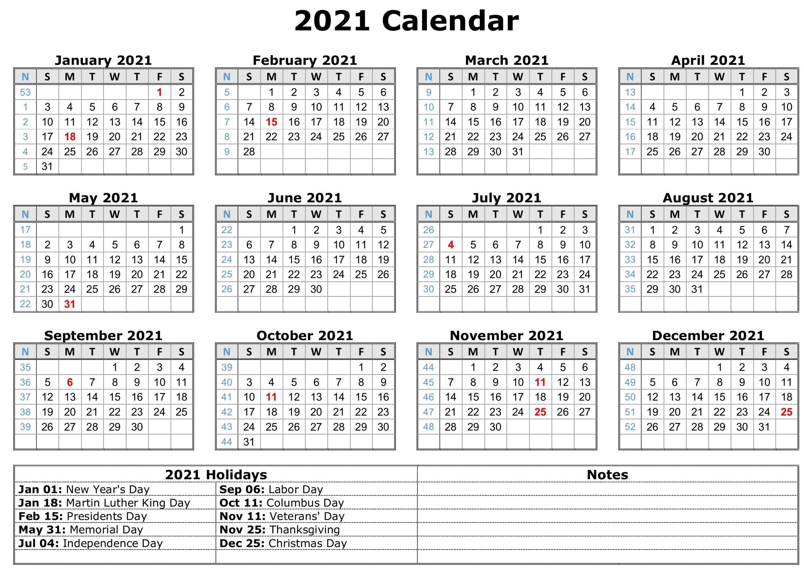 2021 Calendar With Holidays | Free Calendar Template