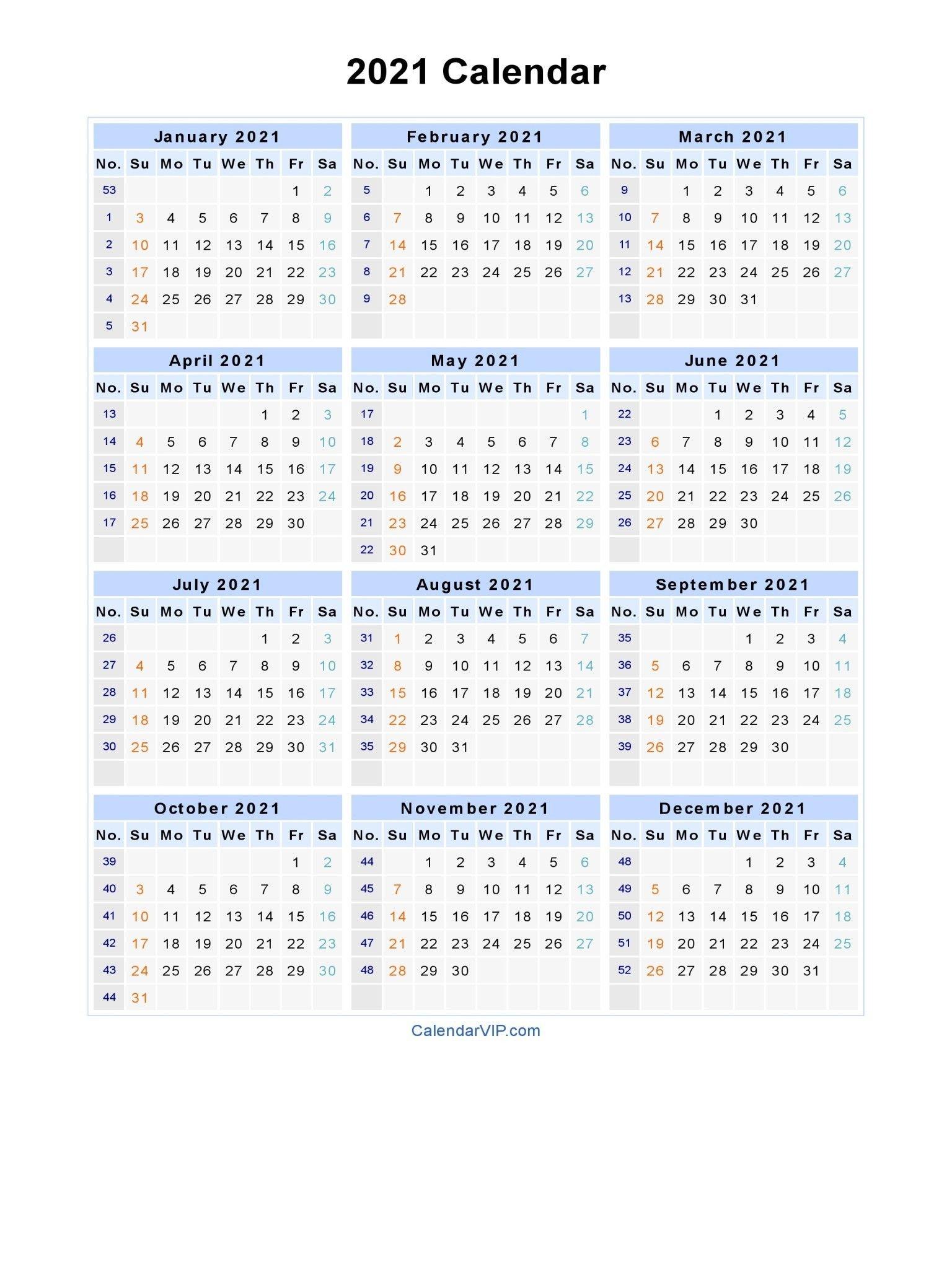 2021 Calendar With Week Numbers Excel Full   Free Printable
