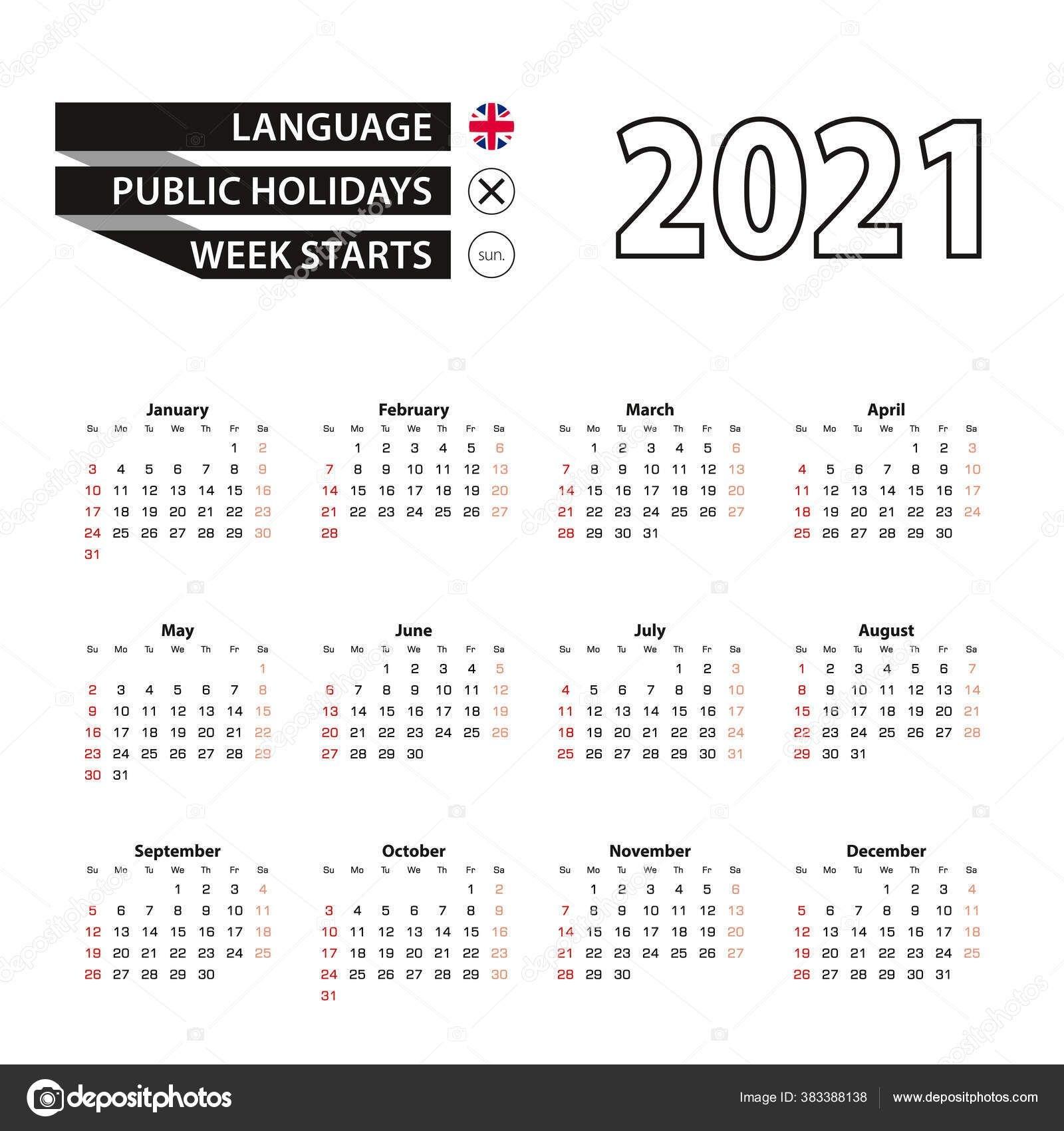 2021 Календарь Английском Языке Неделя Начинается