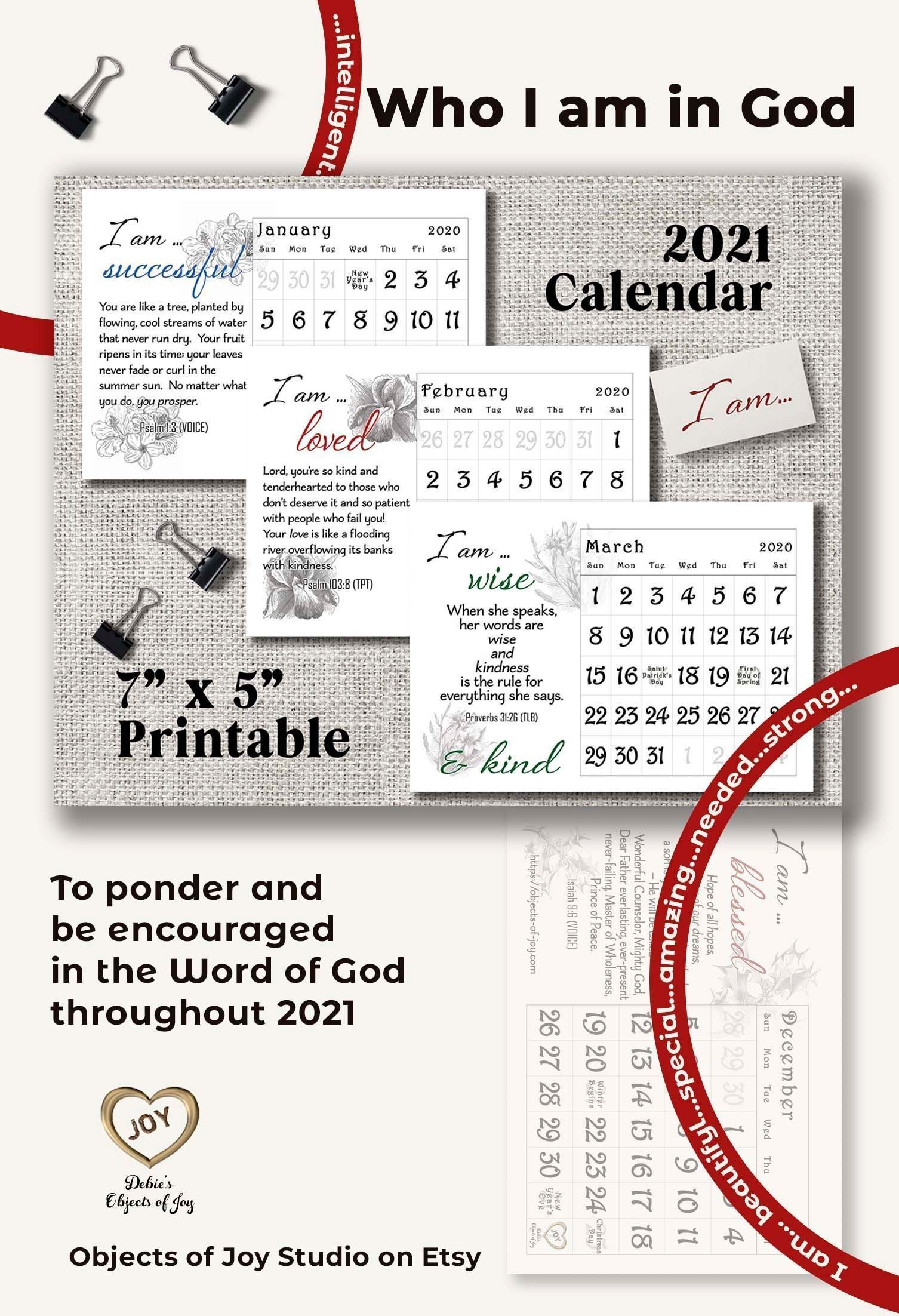 2021 Desk Calendar Printable Biblical Encouragement | Etsy