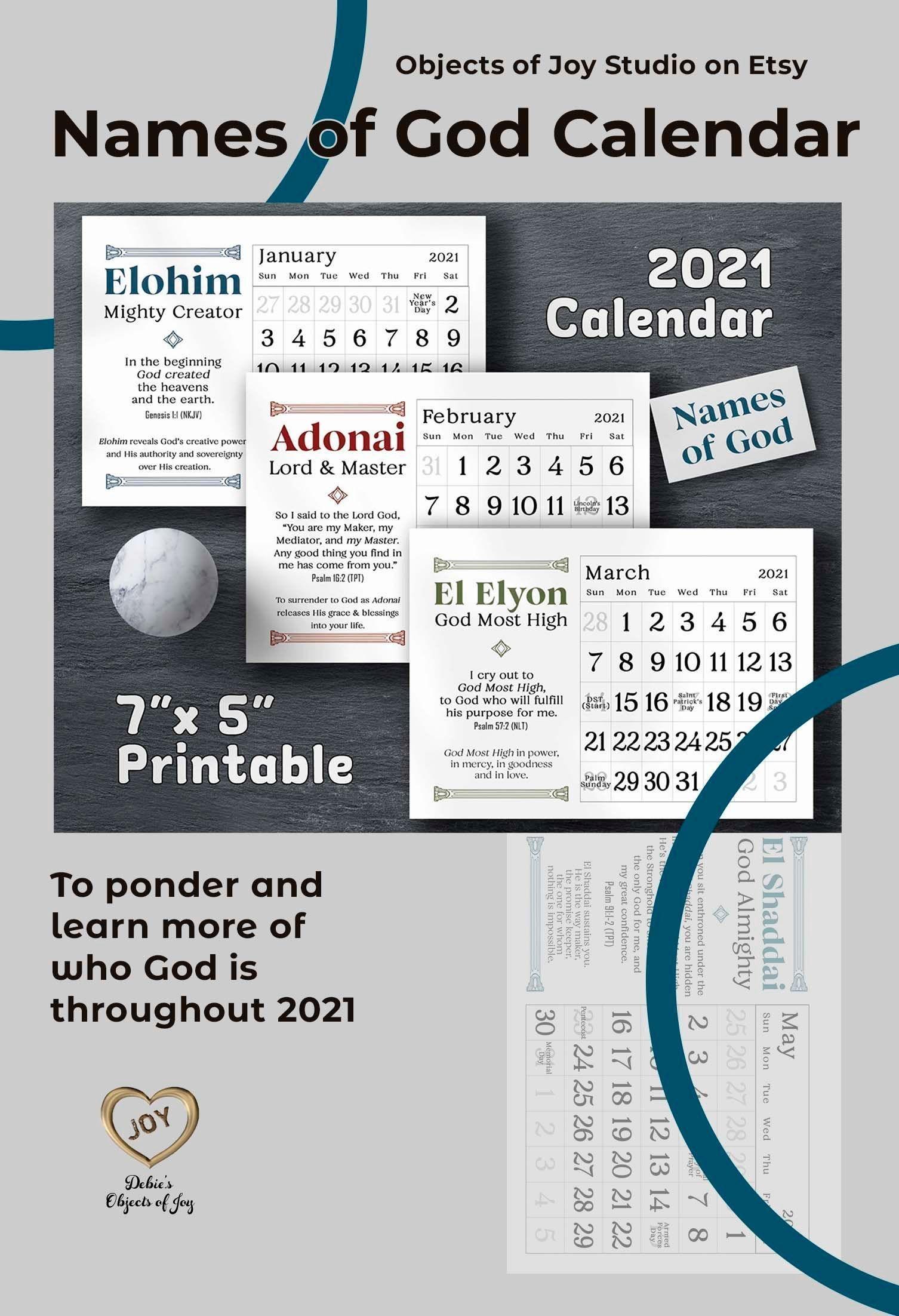 2021 Desk Calendar Printable Names Of God Monthly Desk