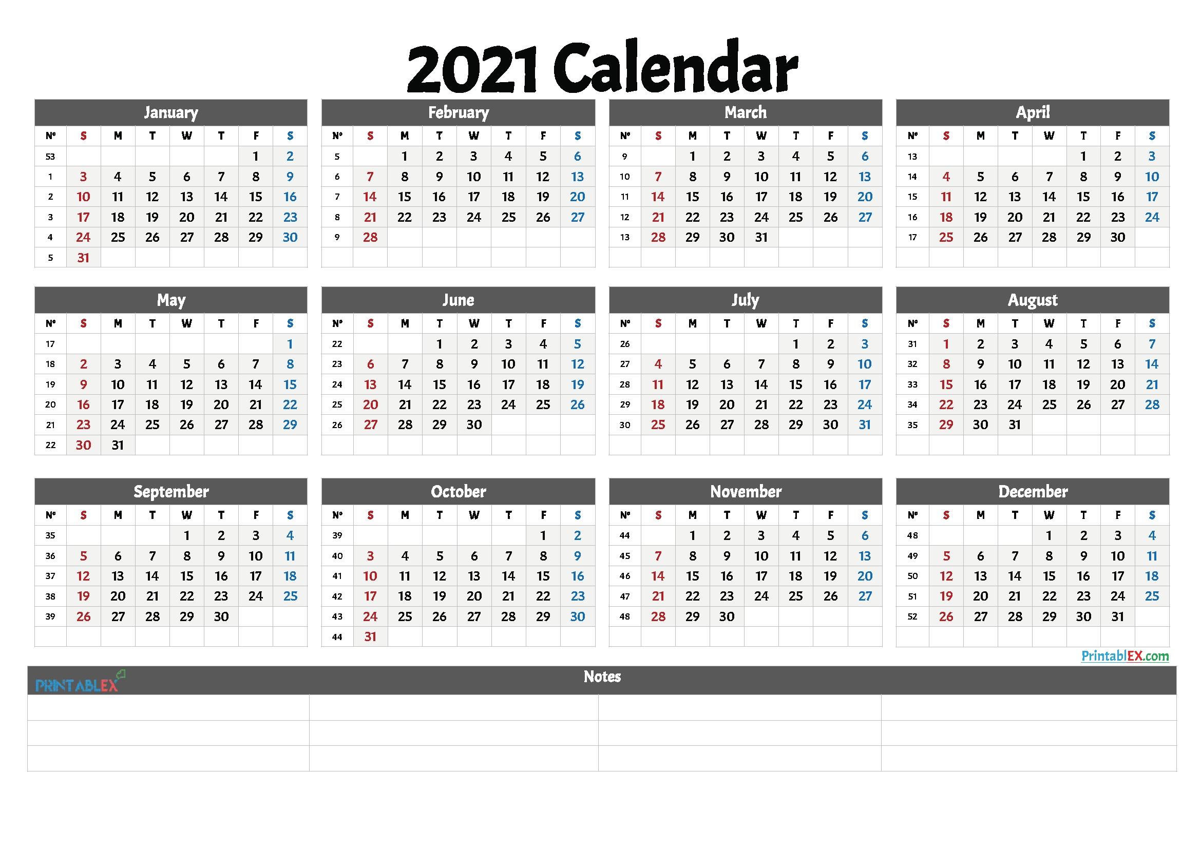 2021 Free Printable Yearly Calendar With Week Numbers – Free