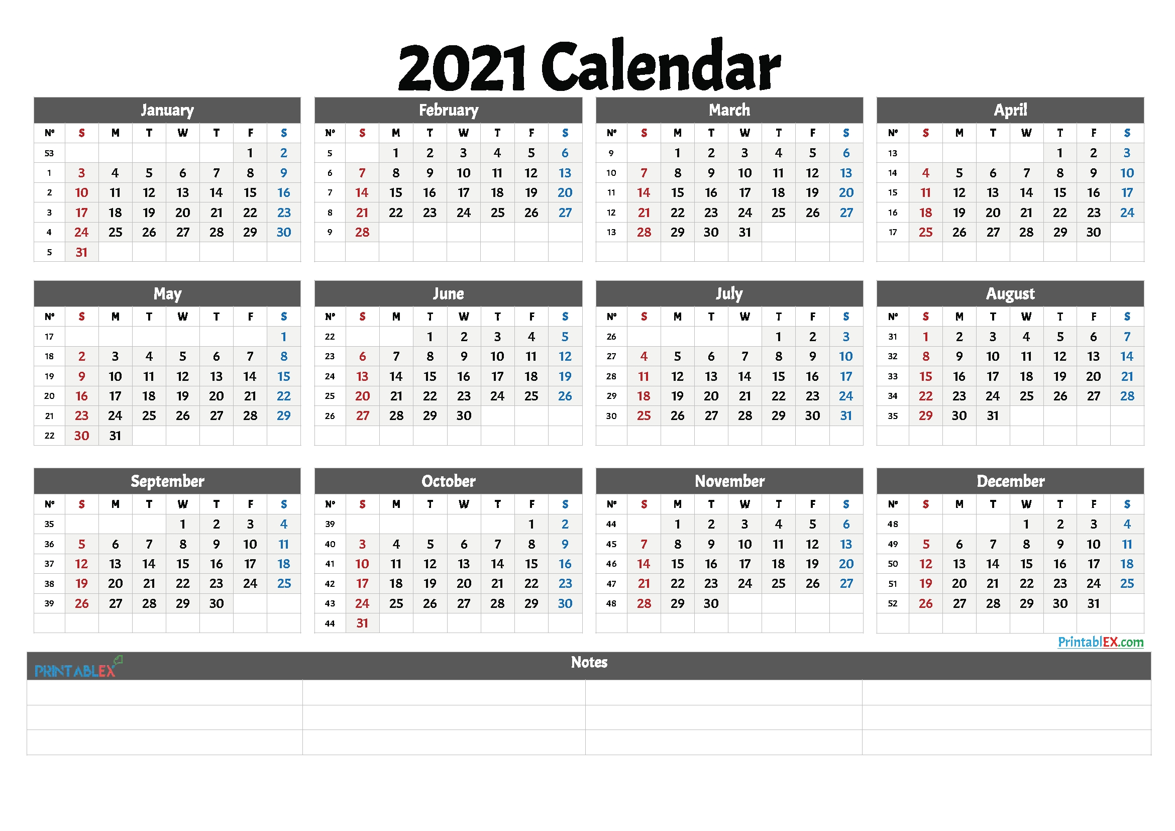 2021 Free Printable Yearly Calendar With Week Numbers – Free
