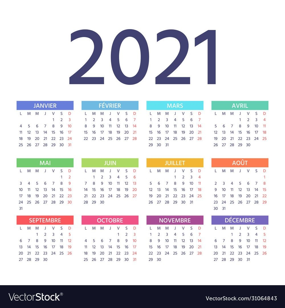2021 French Calendar Template Year Color Planner Vector Image