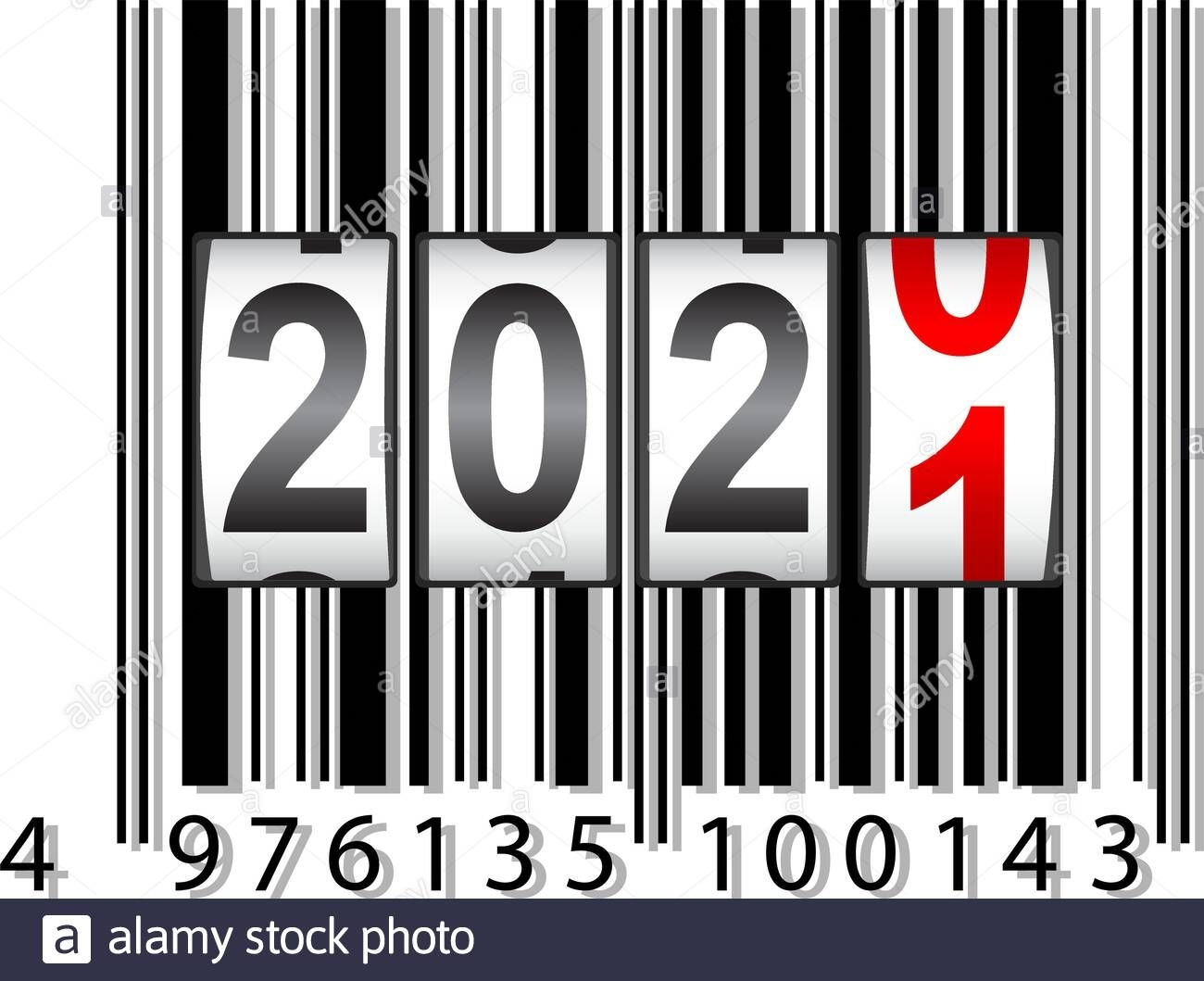2021 New Year Counter, Barcode Calendar Illustration Stock