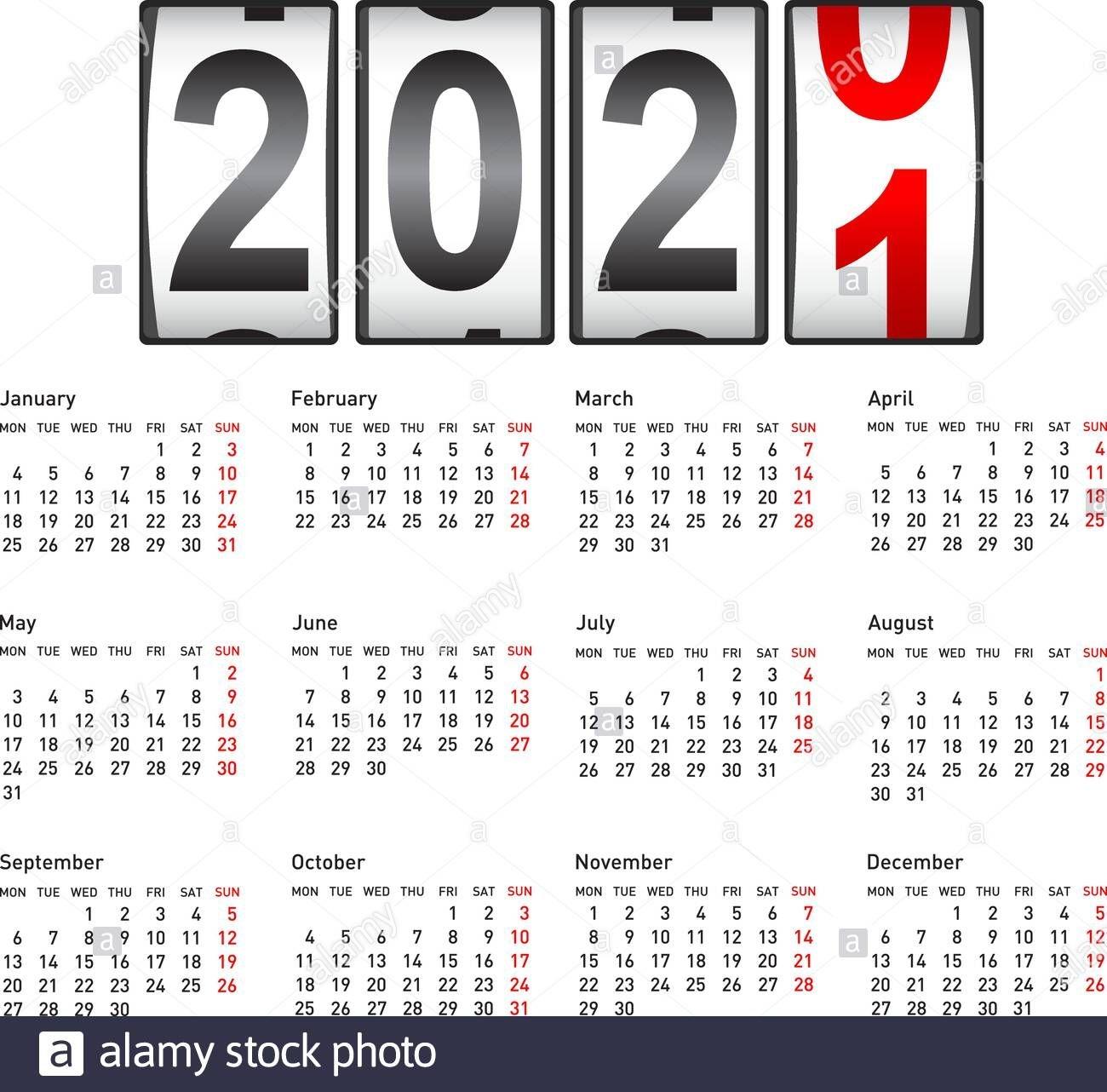 2021 New Year Counter, Change Calendar Illustration Stock