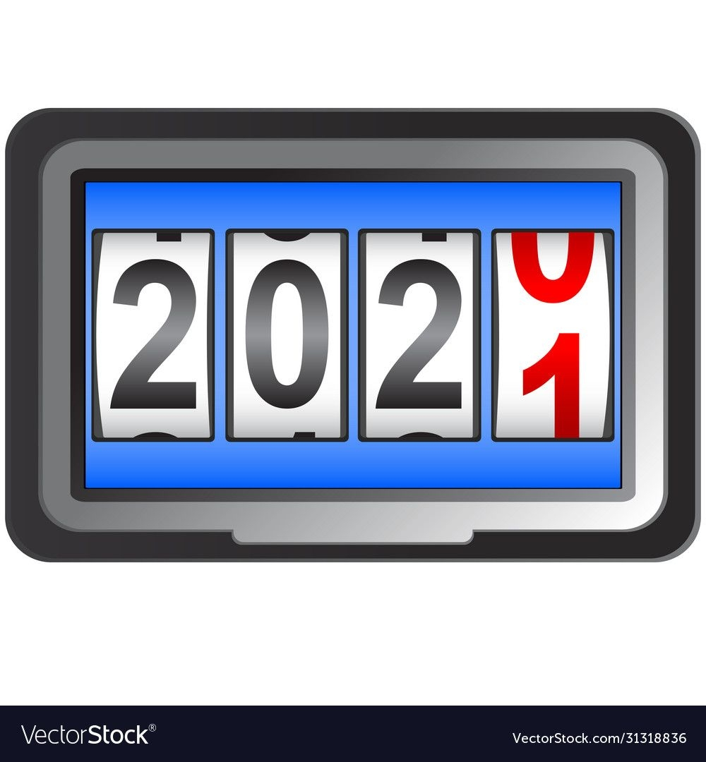 2021 New Year Counter Change Calendar Royalty Free Vector