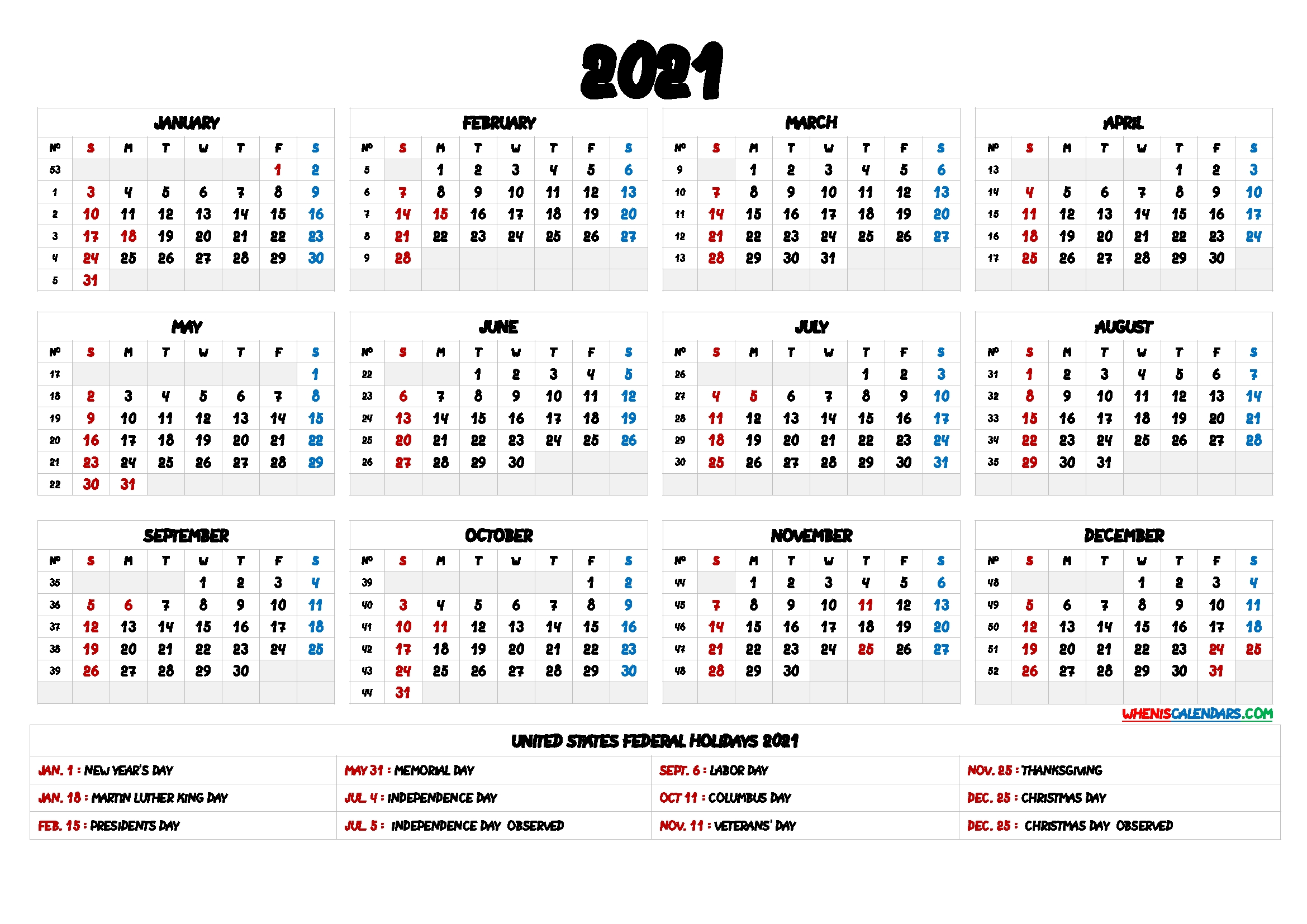 2021 One Page Calendar Printable – 9 Templates – Free 2020