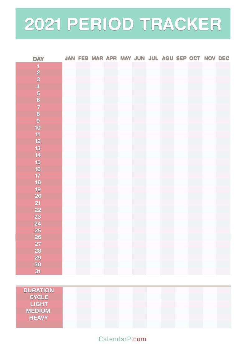 2021 Period Tracker Calendar, Free Printable Pdf, Jpg, Red