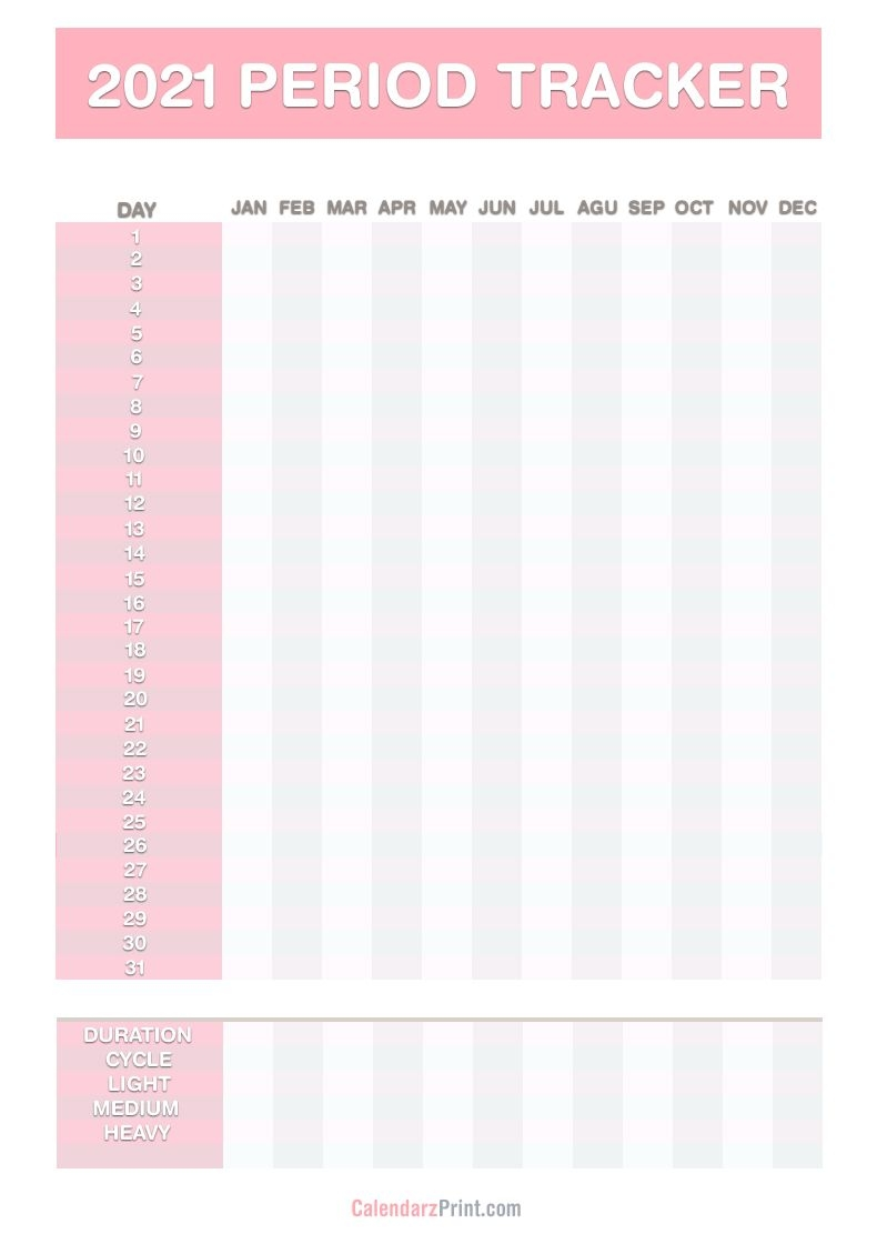 2021 Period Tracker Calendar, Free Printable Pdf, Jpg, Red