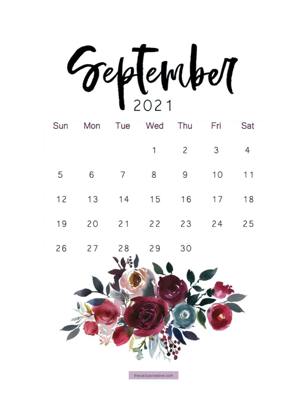 2021 Printable Calendar Floral Watercolor Calendar Letter