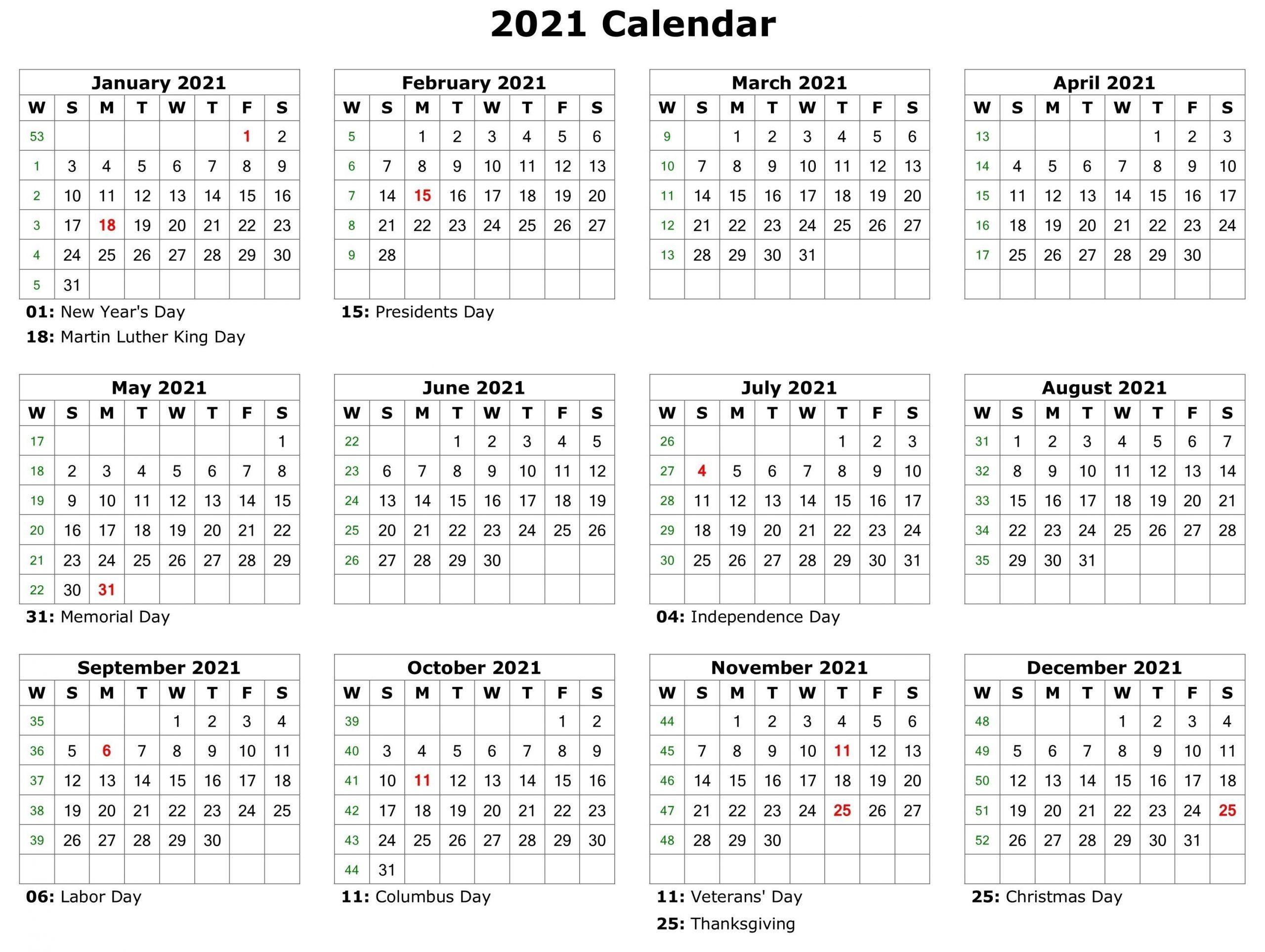 2021 Printable Calendar   Monthly Calendar Printable