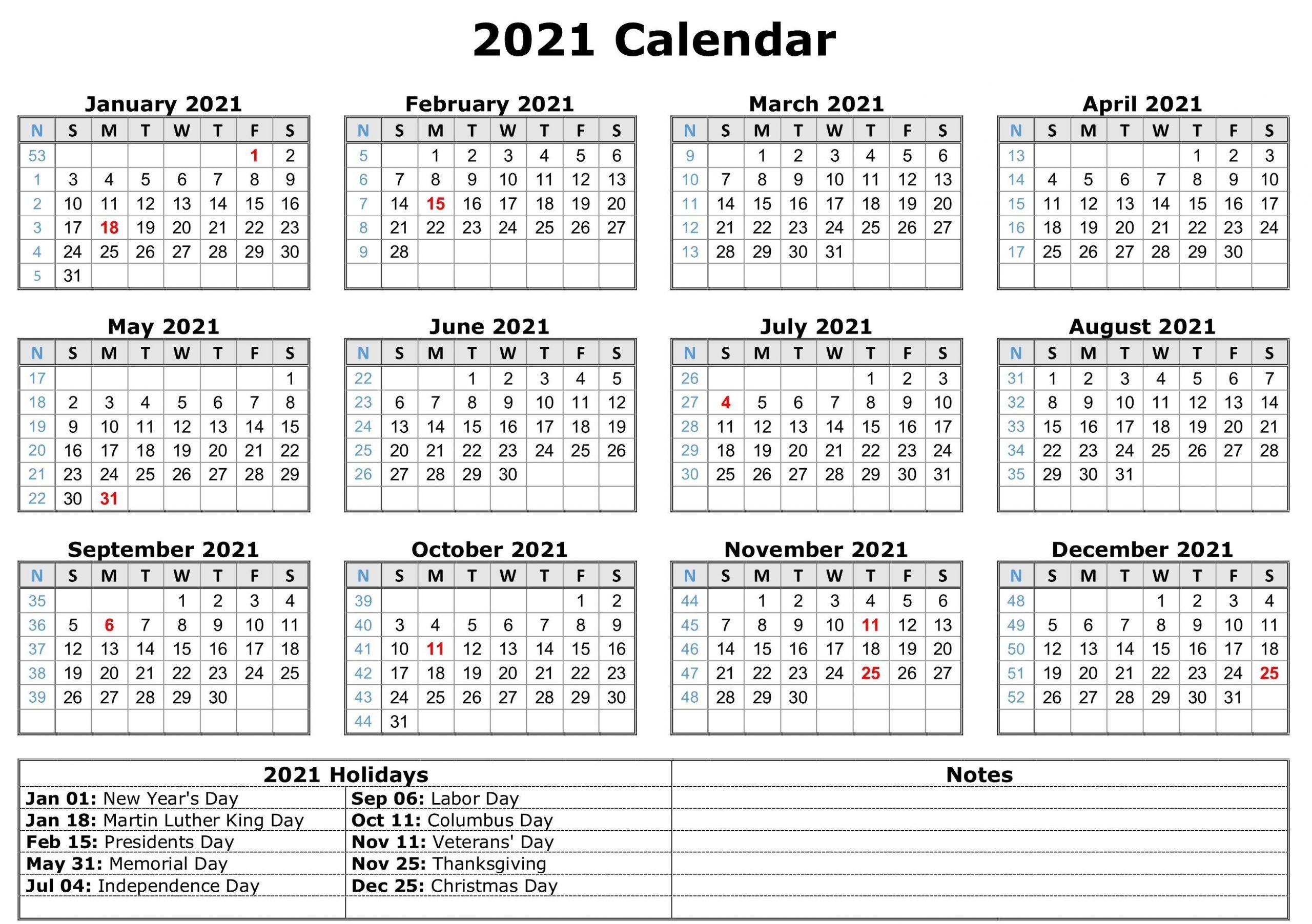 2021 Printable Calendar With Holidays   Calendar Template