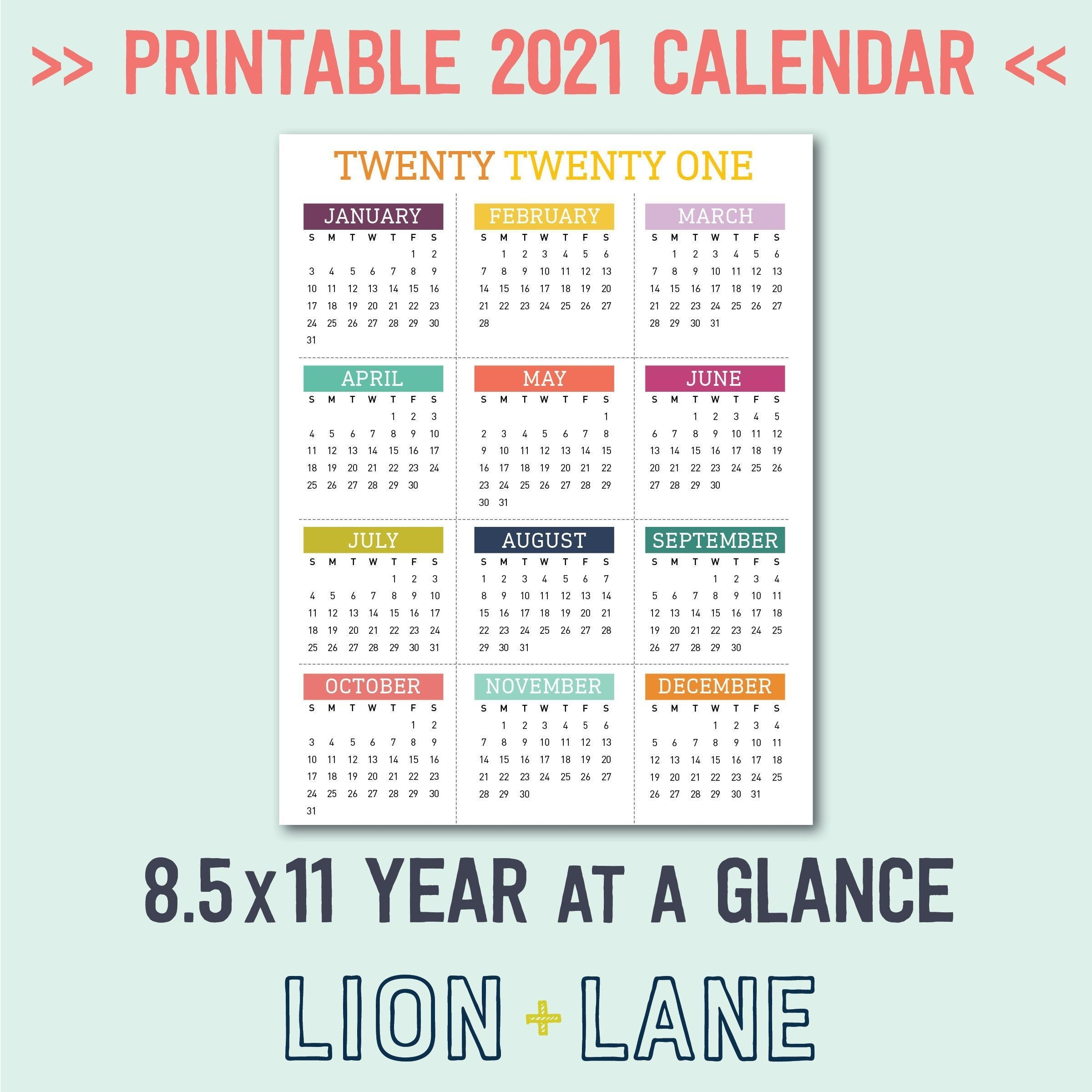 2021 Printable Calendar Year At A Glance 8.5X11 Letter