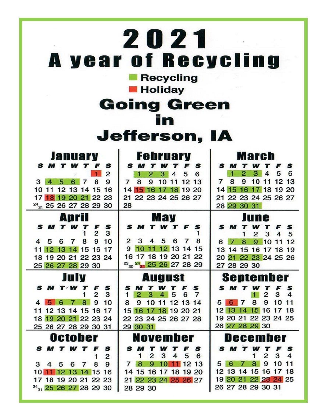 2021 Recycling Calendars - City Of Jefferson Iowa