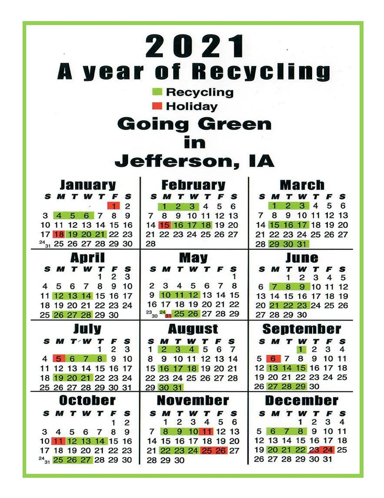 2021 Recycling Calendars - City Of Jefferson Iowa